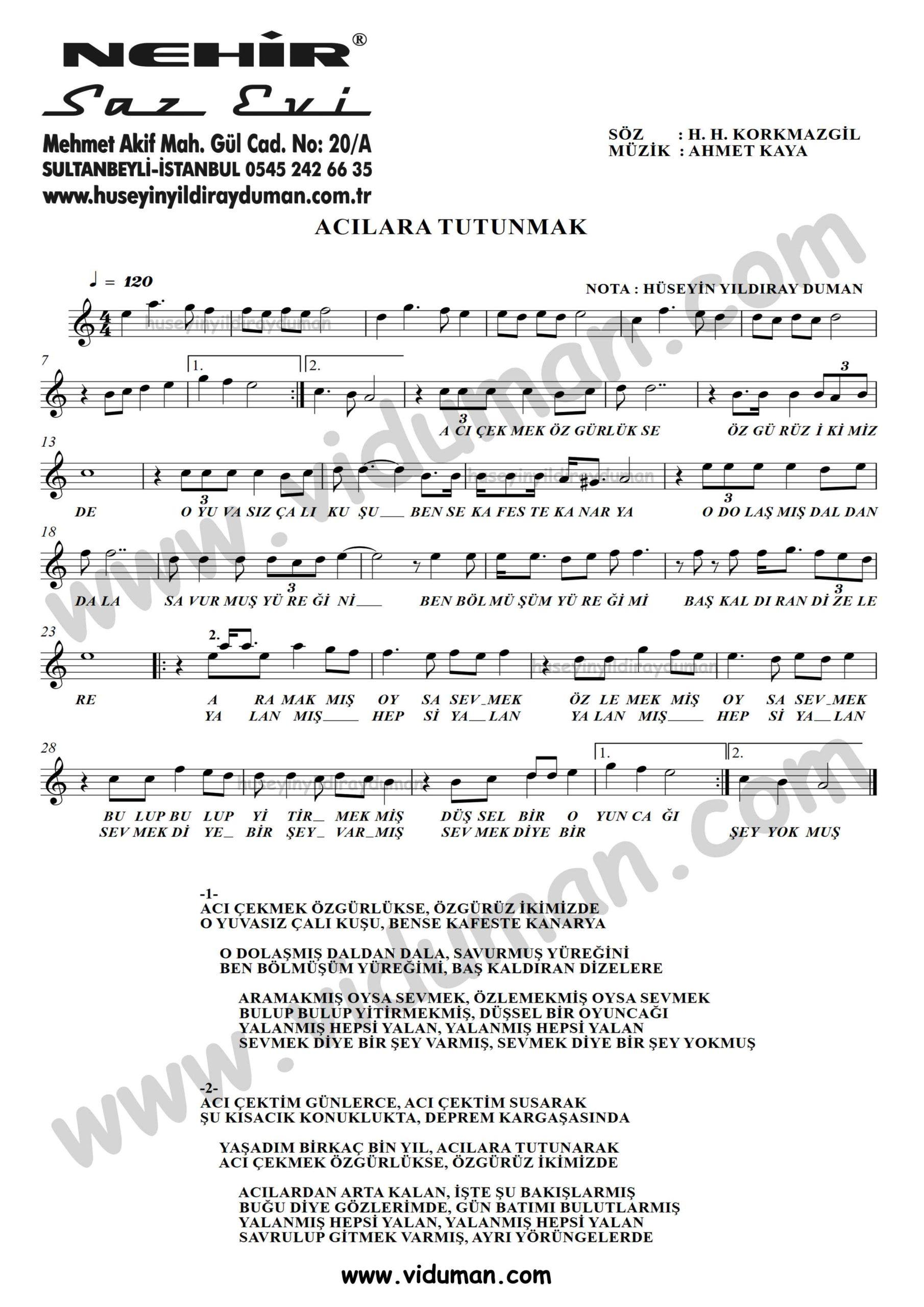 Acilara Tutunmak-Ahmet Kaya-Baglama-Saz-Turku-Notalari