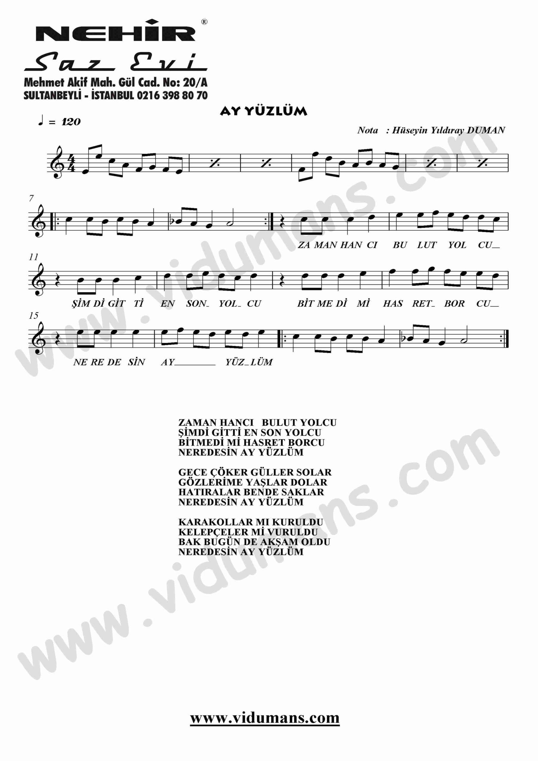 Ay Yuzlum-Keman-Notalari
