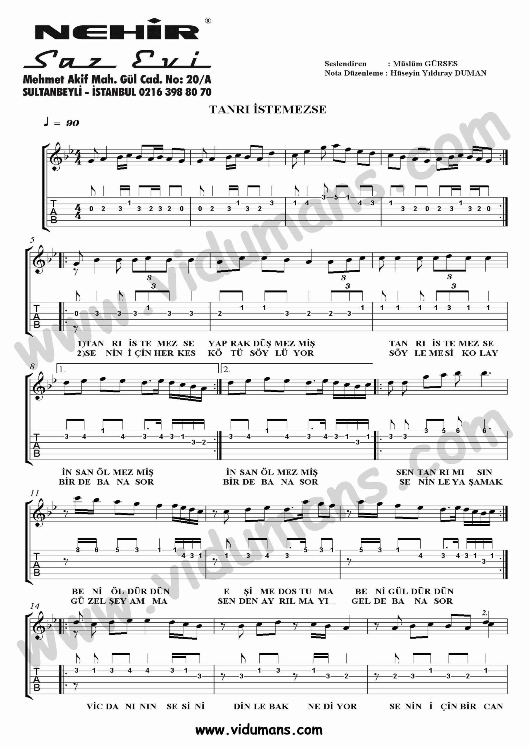 Tanri Istemezse_1-Gitar-Tab-Solo-Notalari