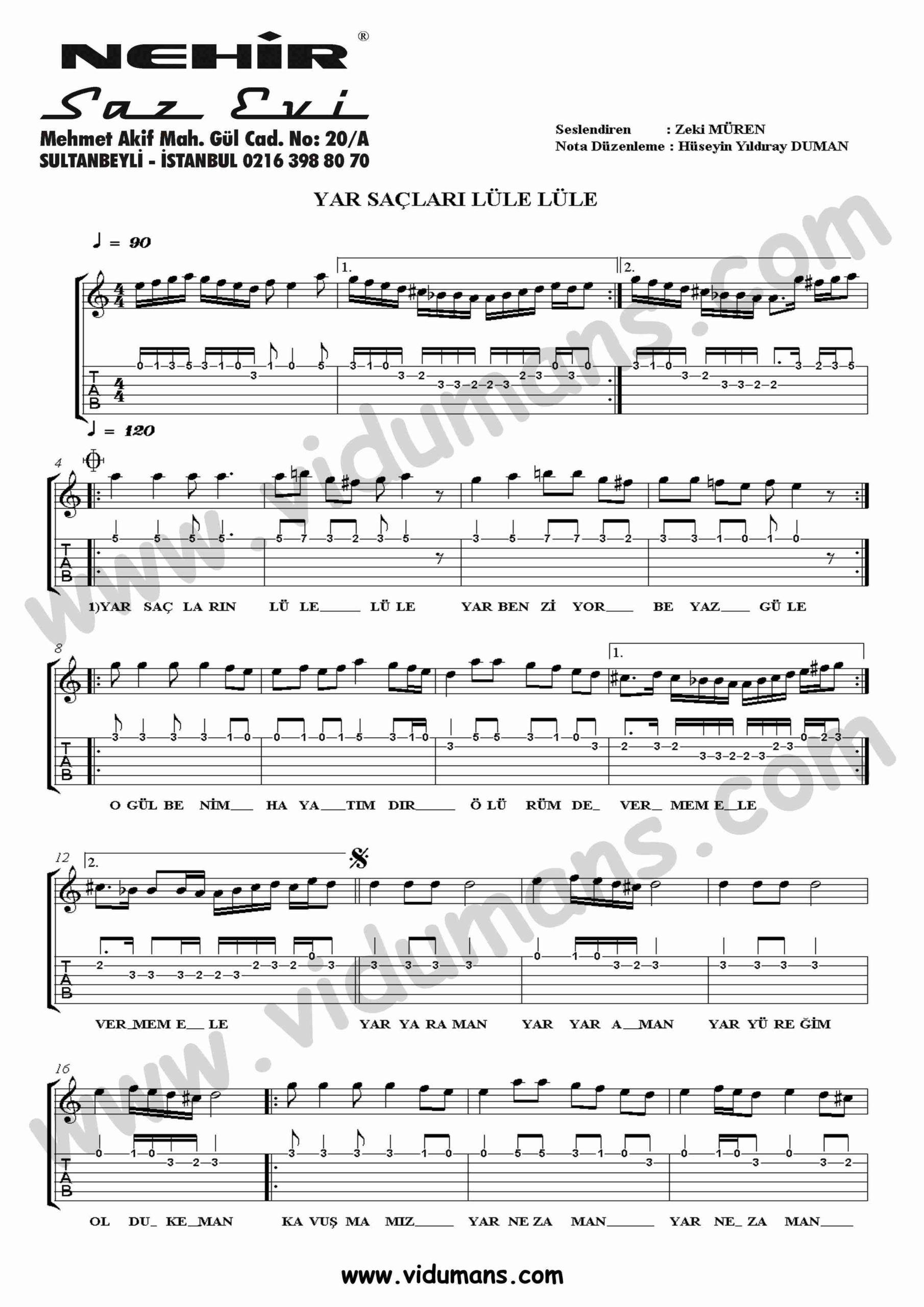 Yar Saclari Lule Lule-Gitar-Tab-Solo-Notalari