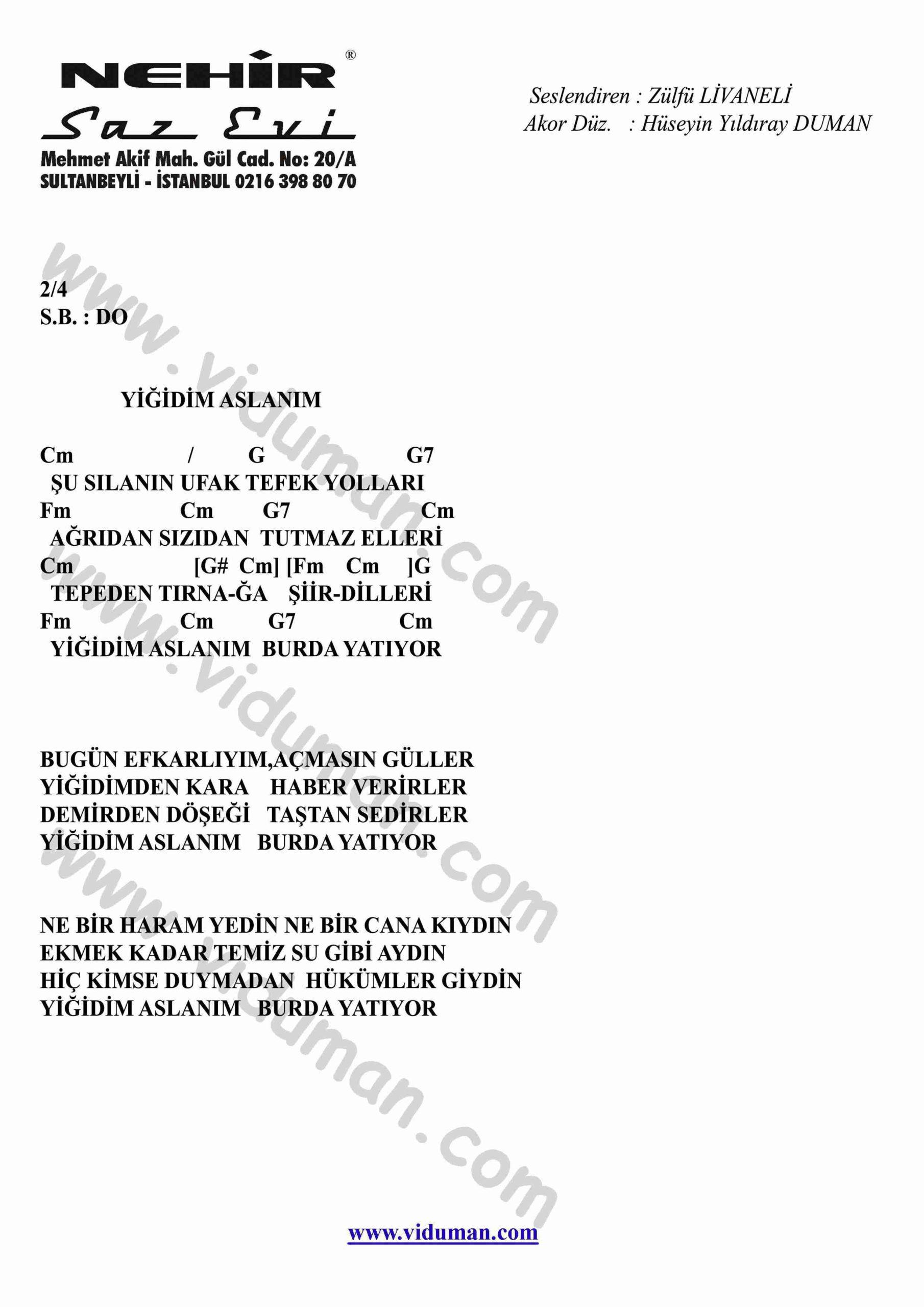 Yigidim Aslanim-Gitar-Ritim-Akorlari