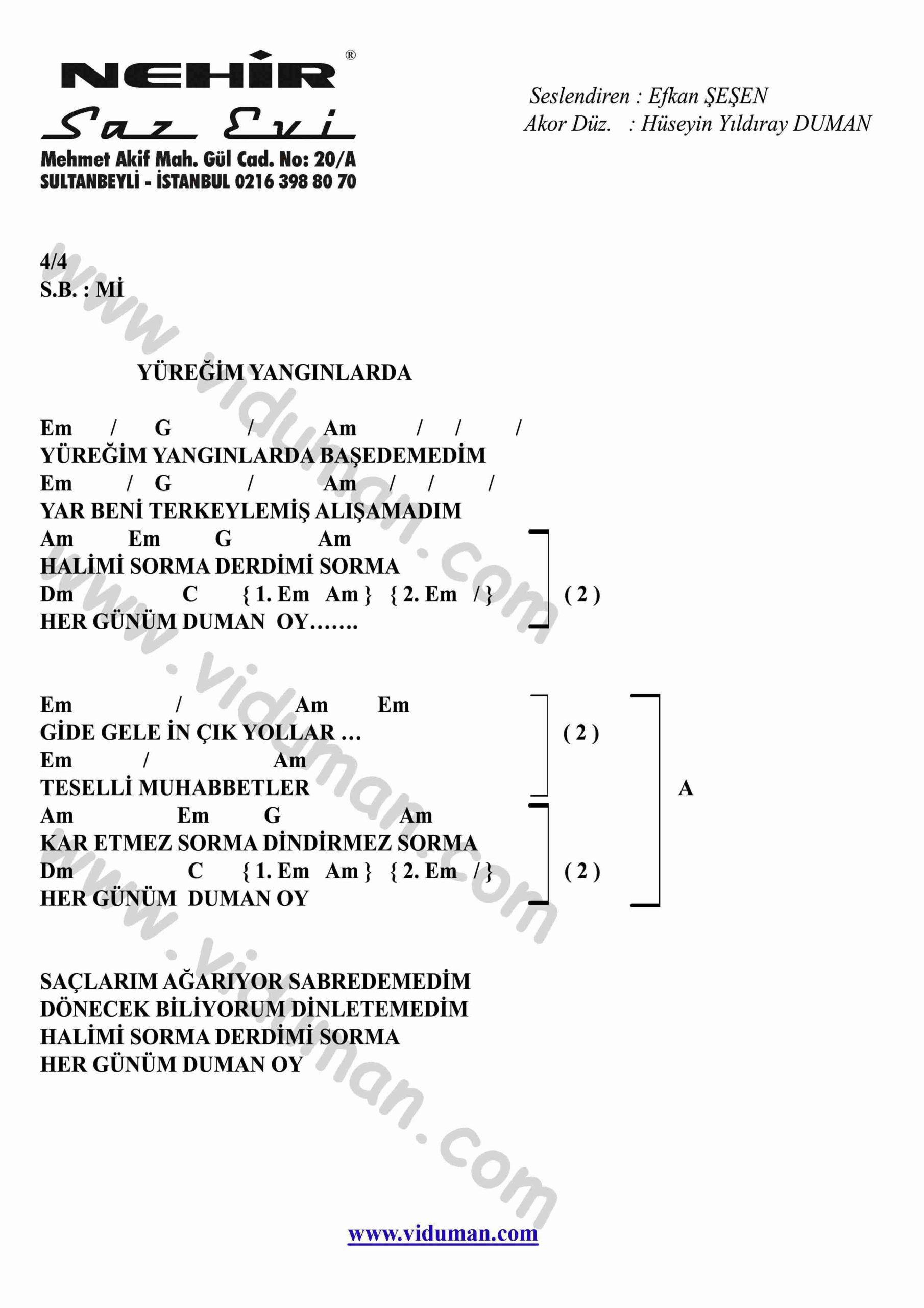 Yuregim Yanginlarda-Gitar-Ritim-Akorlari