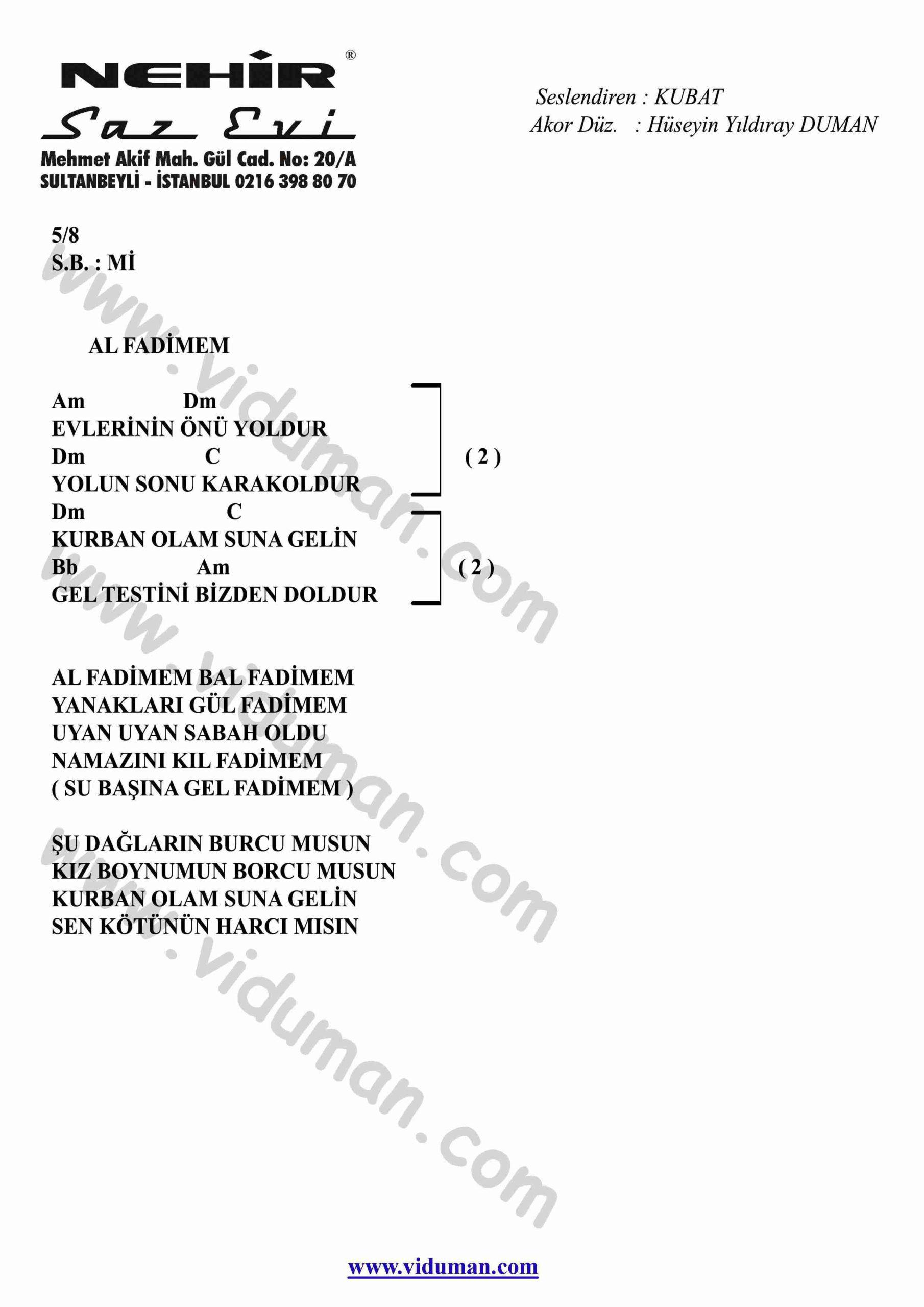 Al Fadimem-Gitar-Ritim-Akorlari