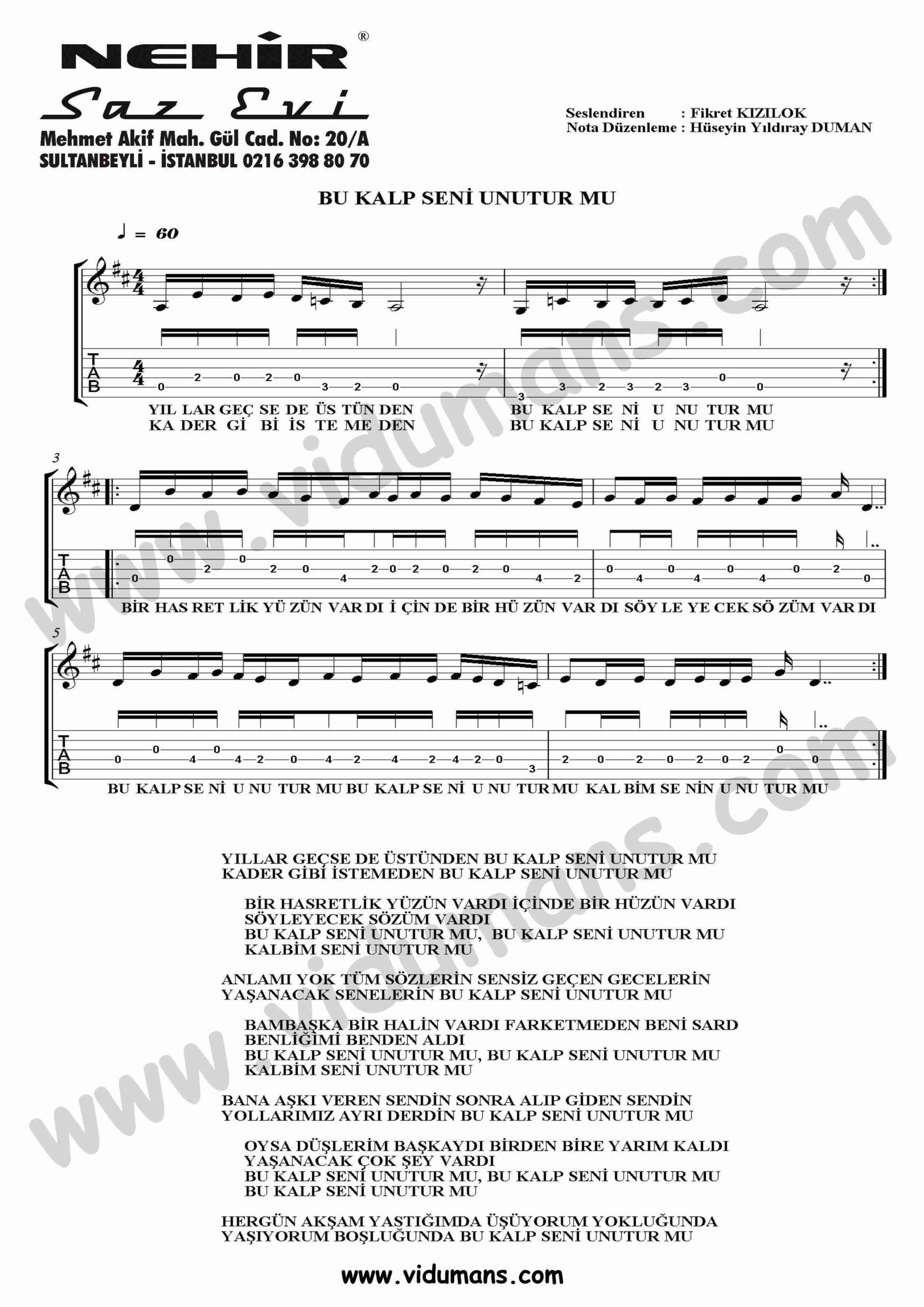 Bu Kalp Seni Unutur mu-Gitar-Tab-Solo-Notalari