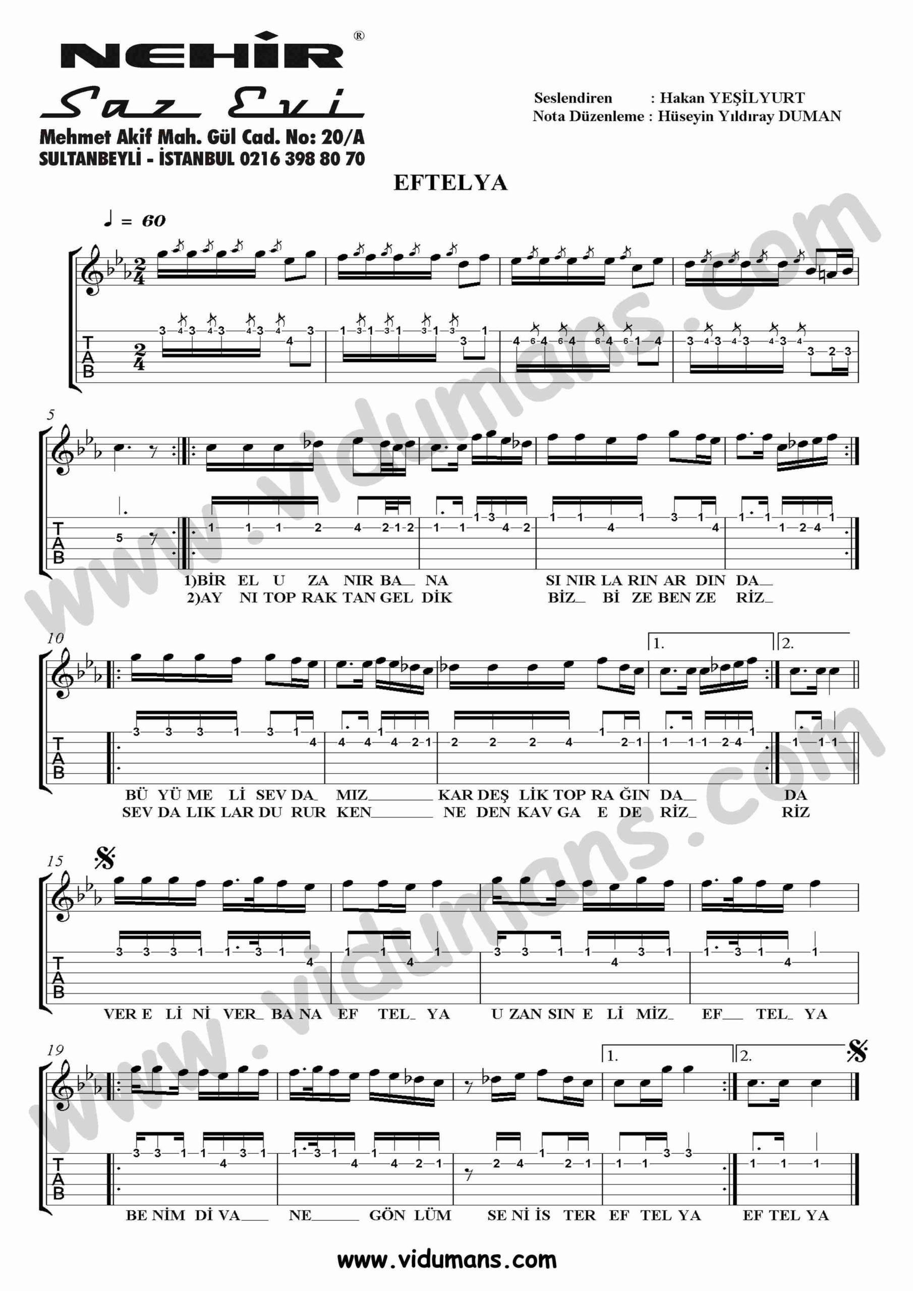 Eftelya-Gitar-Tab-Solo-Notalari
