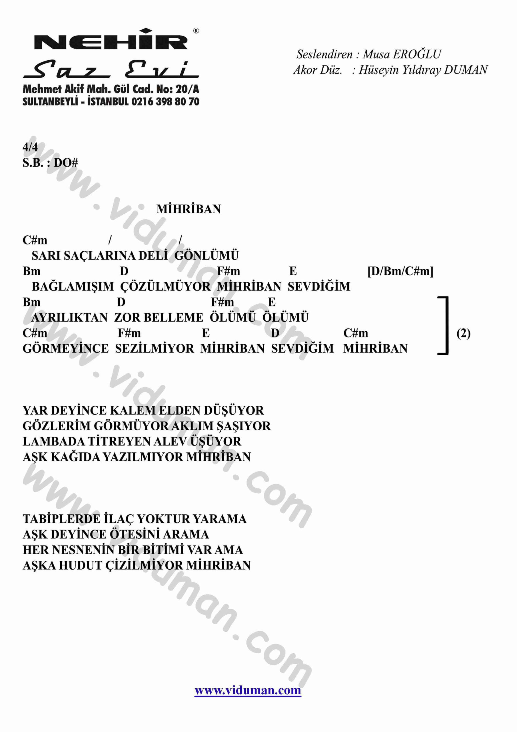Mihriban-Gitar-Ritim-Akorlari