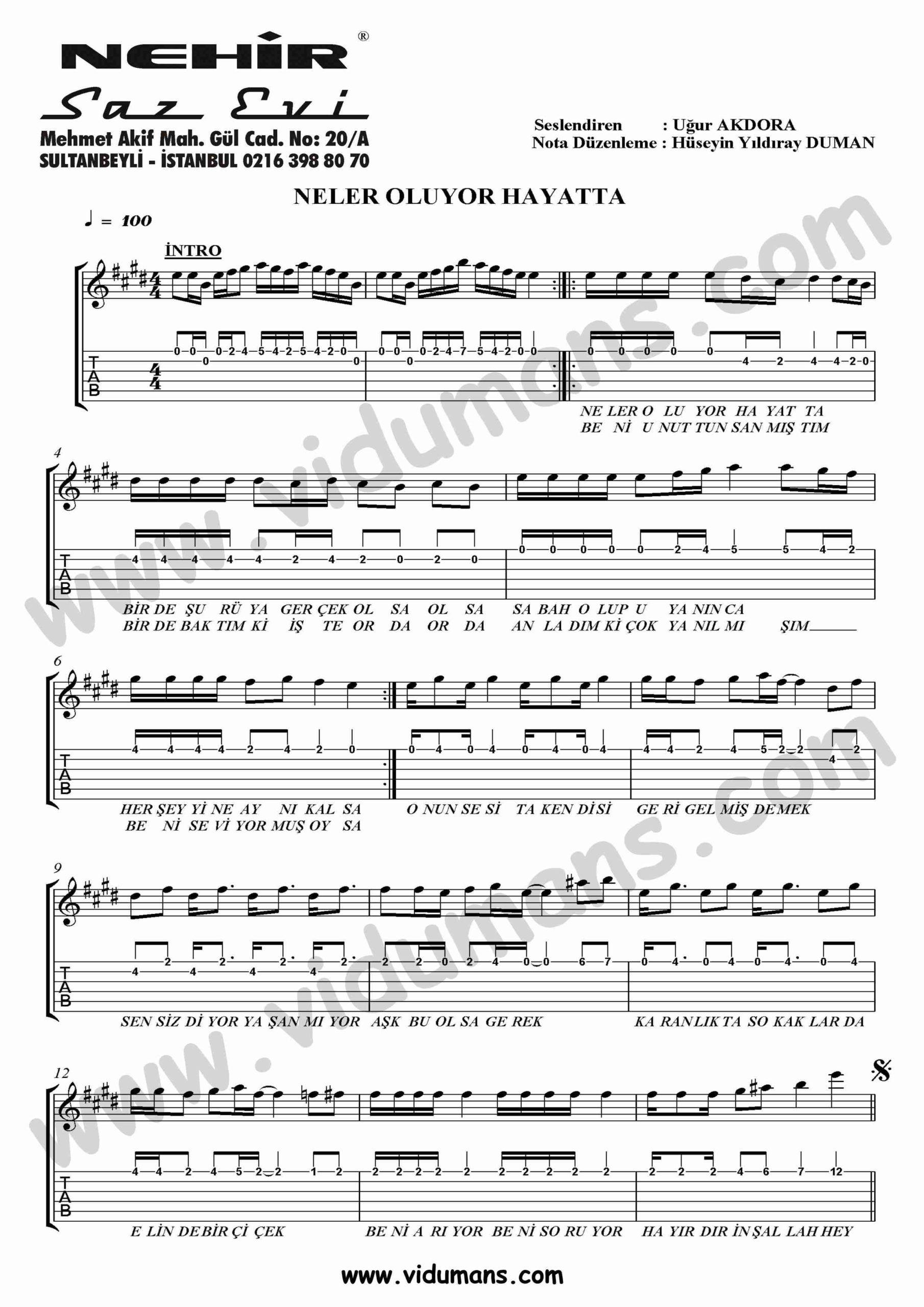 Neler Oluyor Hayatta_1-Gitar-Tab-Solo-Notalari