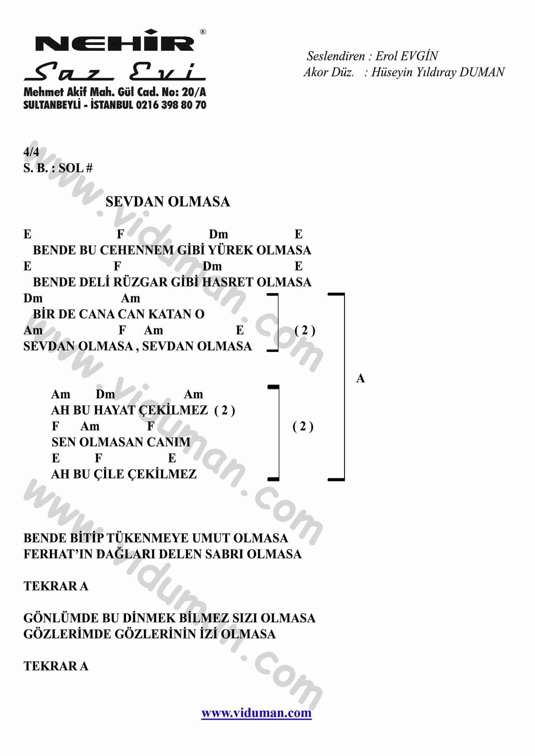 Sevdan Olmasa-Gitar-Ritim-Akorlari