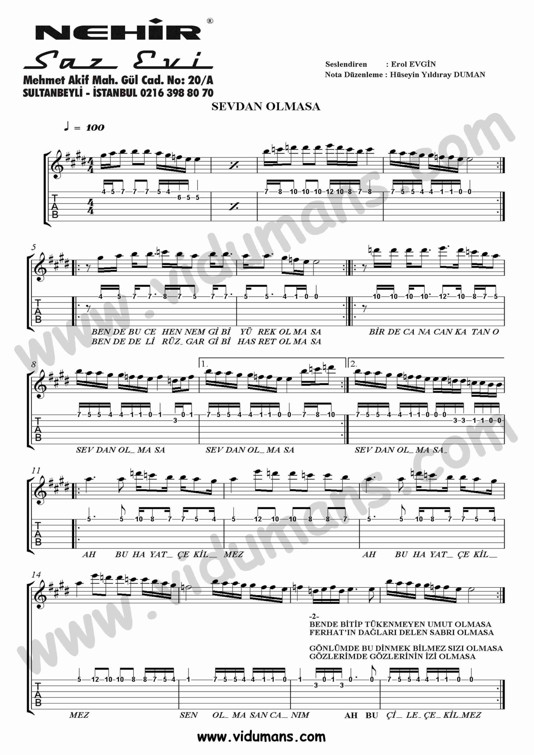 Sevdan Olmasa-Gitar-Tab-Solo-Notalari