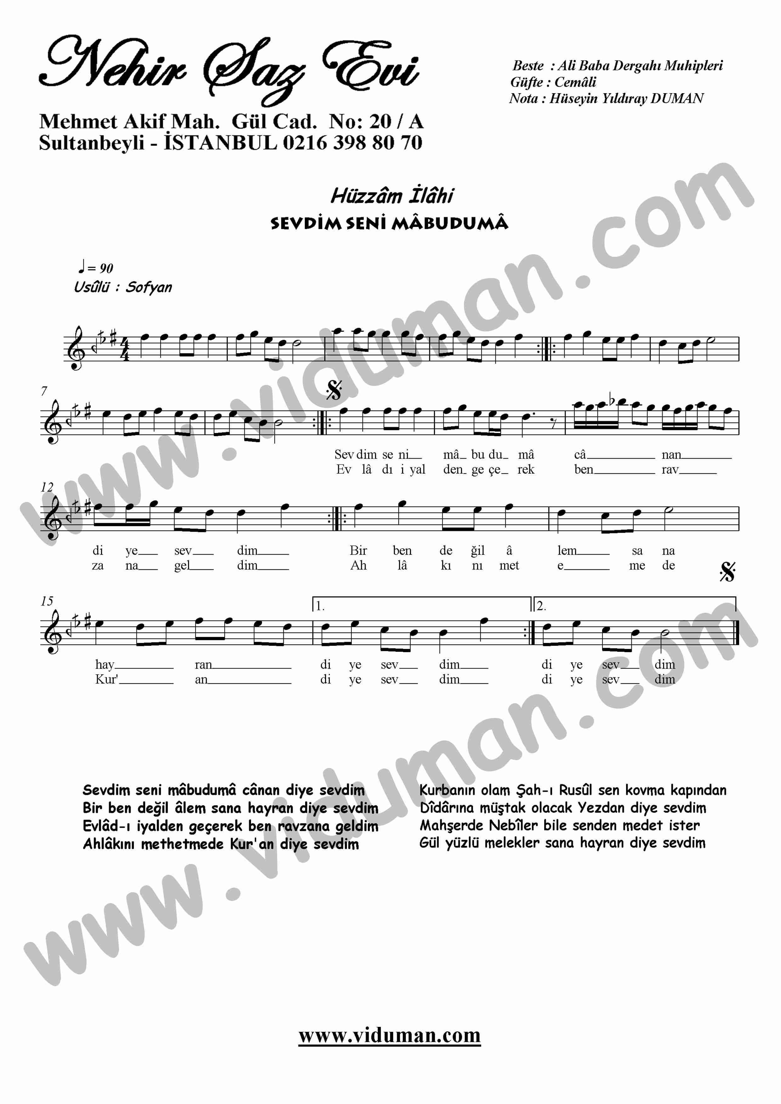 Sevdim Seni Mabuduma-Ney-Ilahi-Notalari