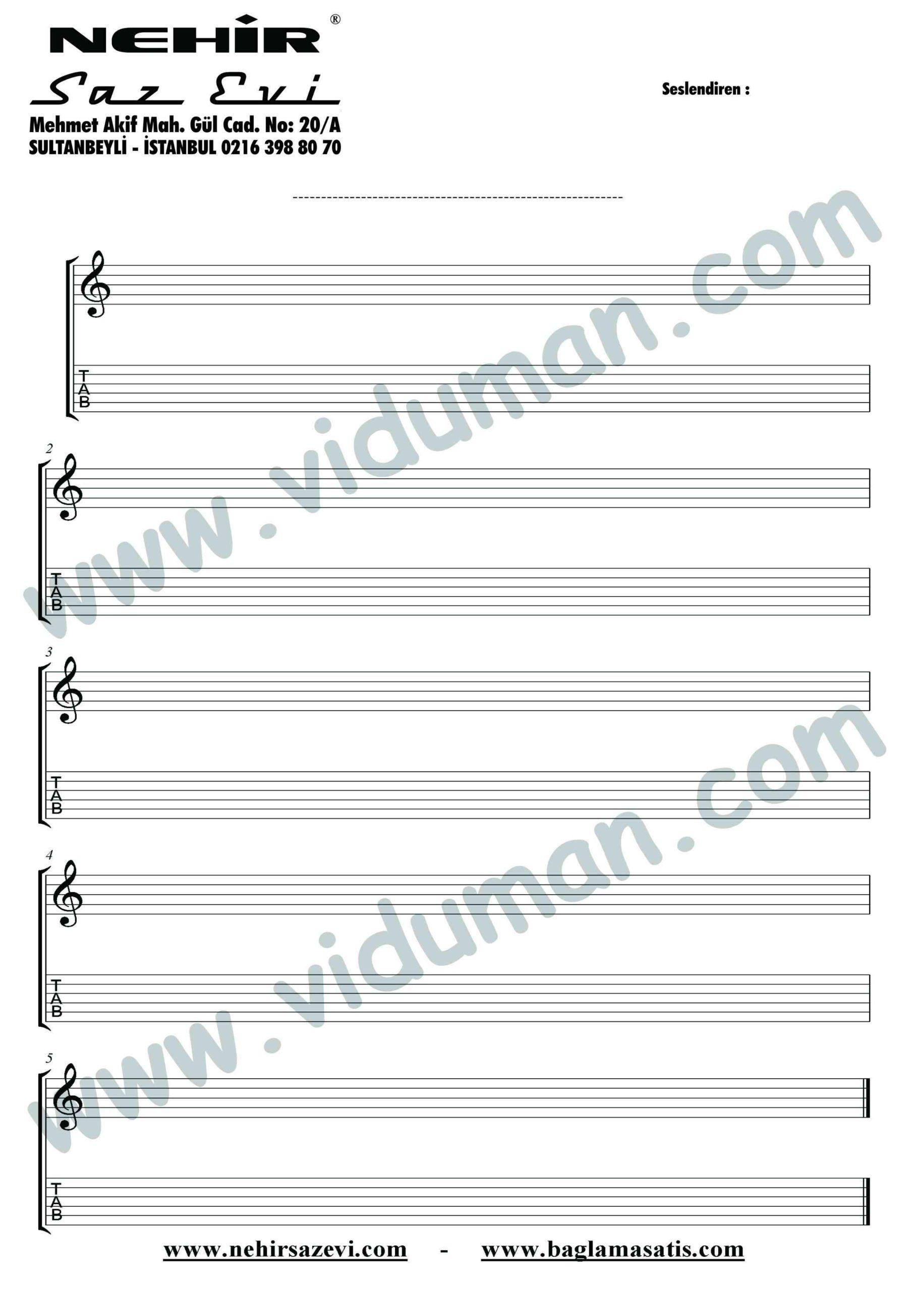 bos nota kagidi gitar tab-Gitar-Solo-Notalari