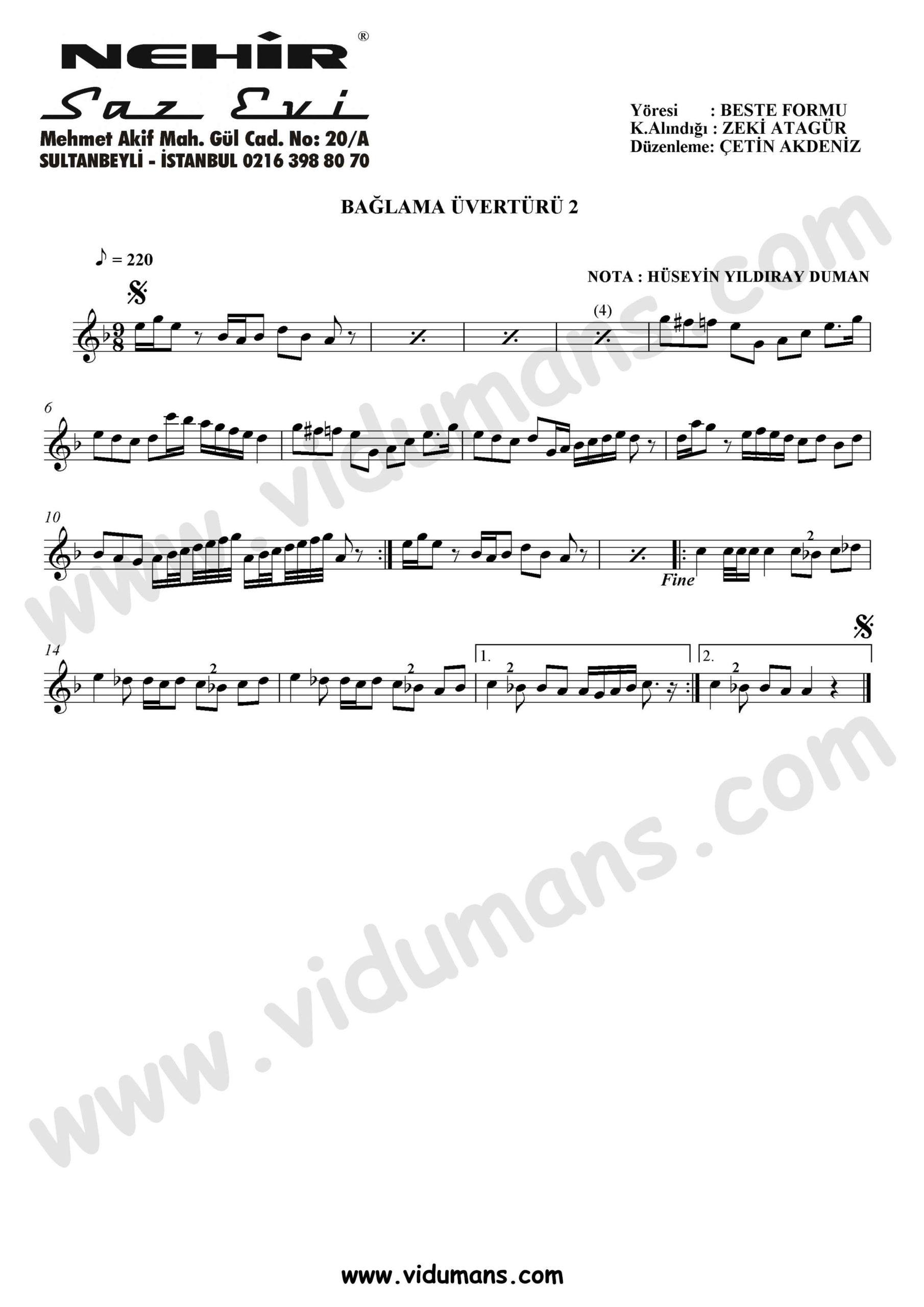 Baglama Uverturu 2-Baglama-Saz-Notalari