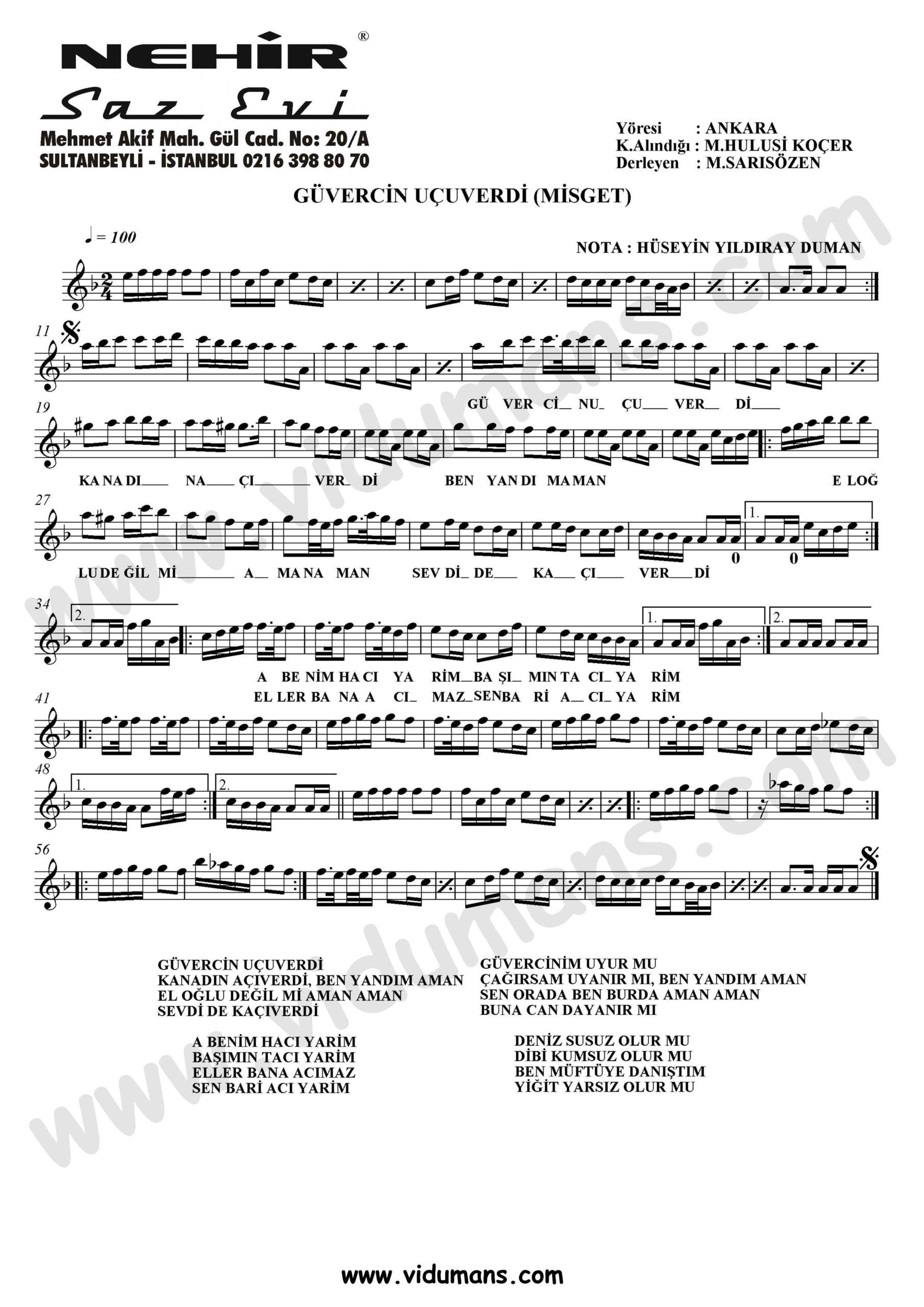 Guvercin Ucuverdi (Misget) La-Baglama-Saz-Notalari