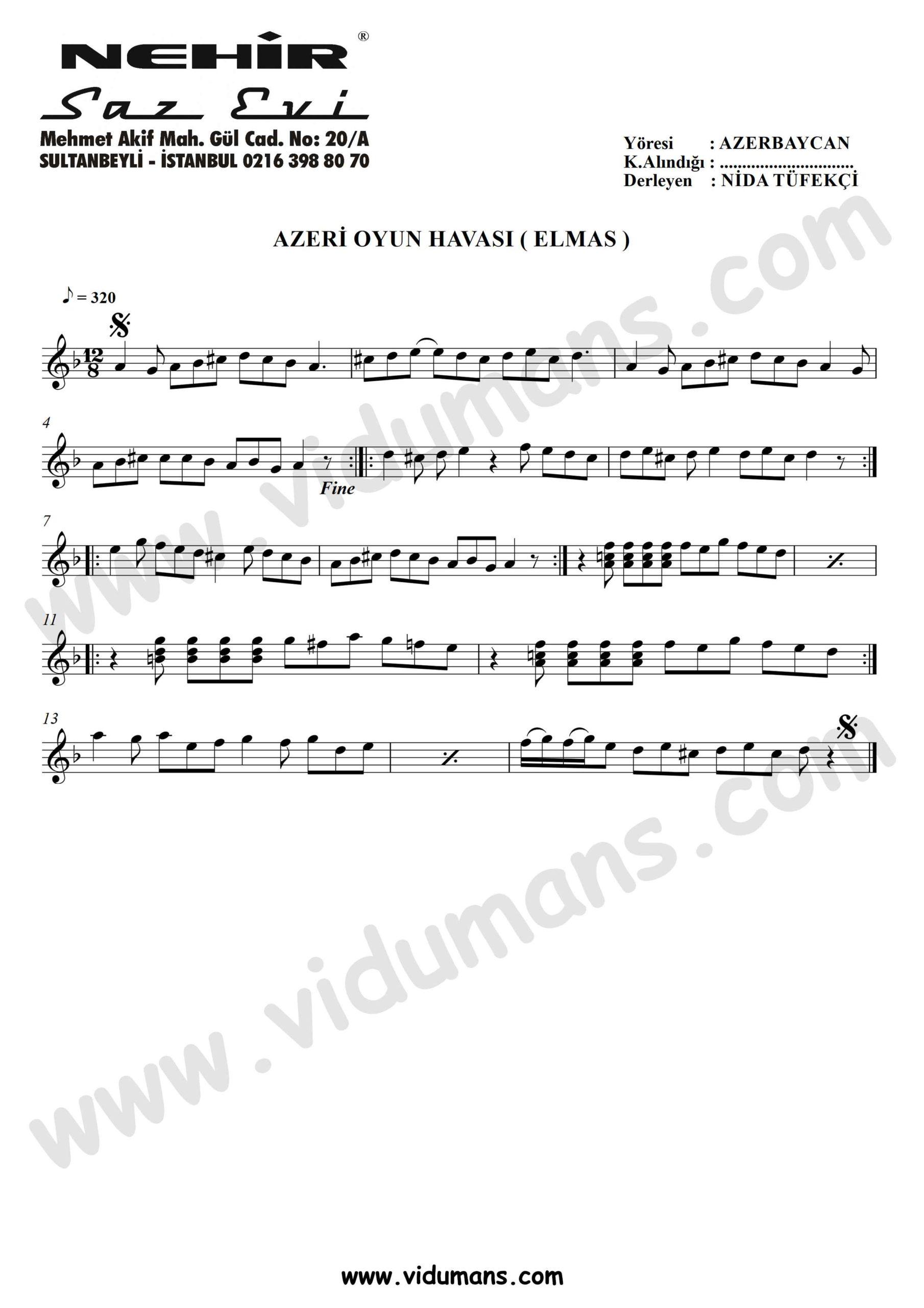Azeri Oyun Havasi (Elmas)-Baglama-Saz-Notalari