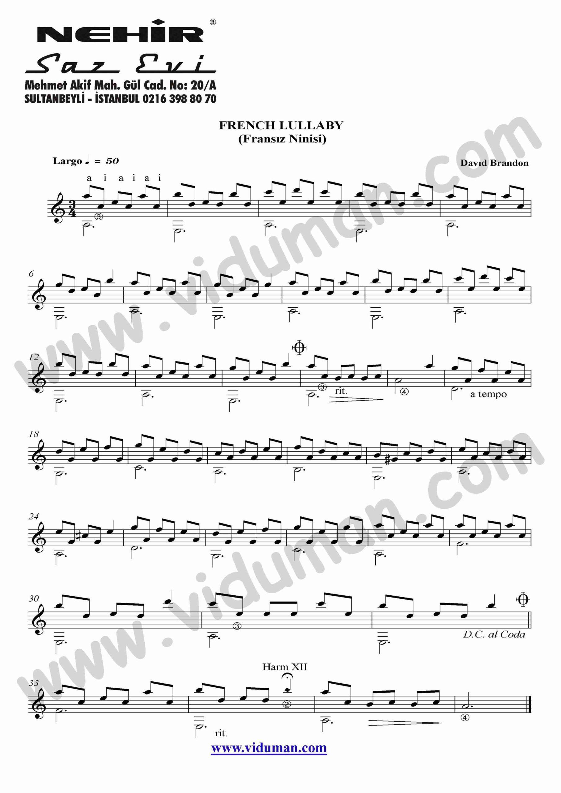 44- French Lullaby Fransiz Ninisi (David Brandon)