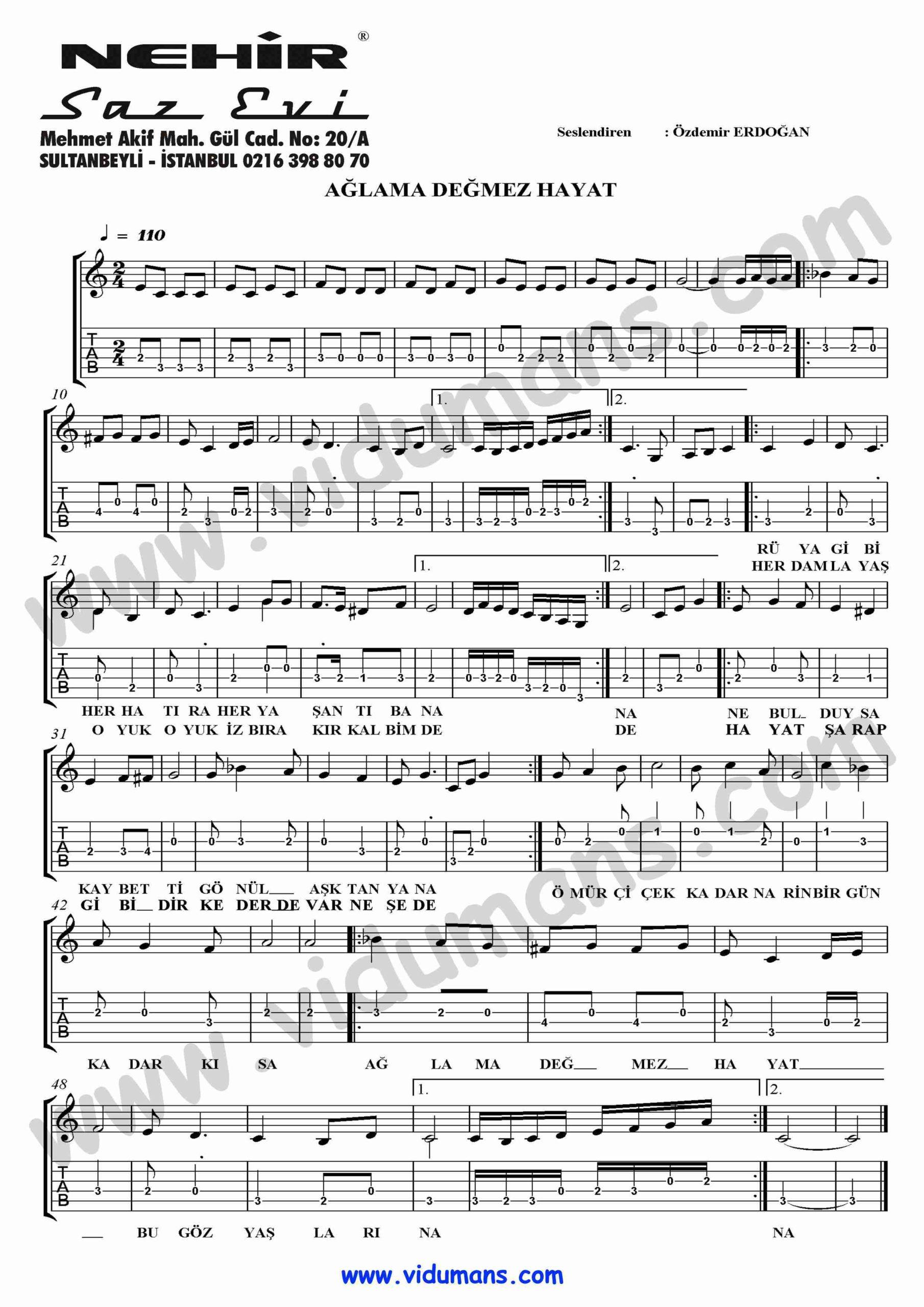 Agla Degmez Hayat-Gitar-Solo-Tab-Notalari