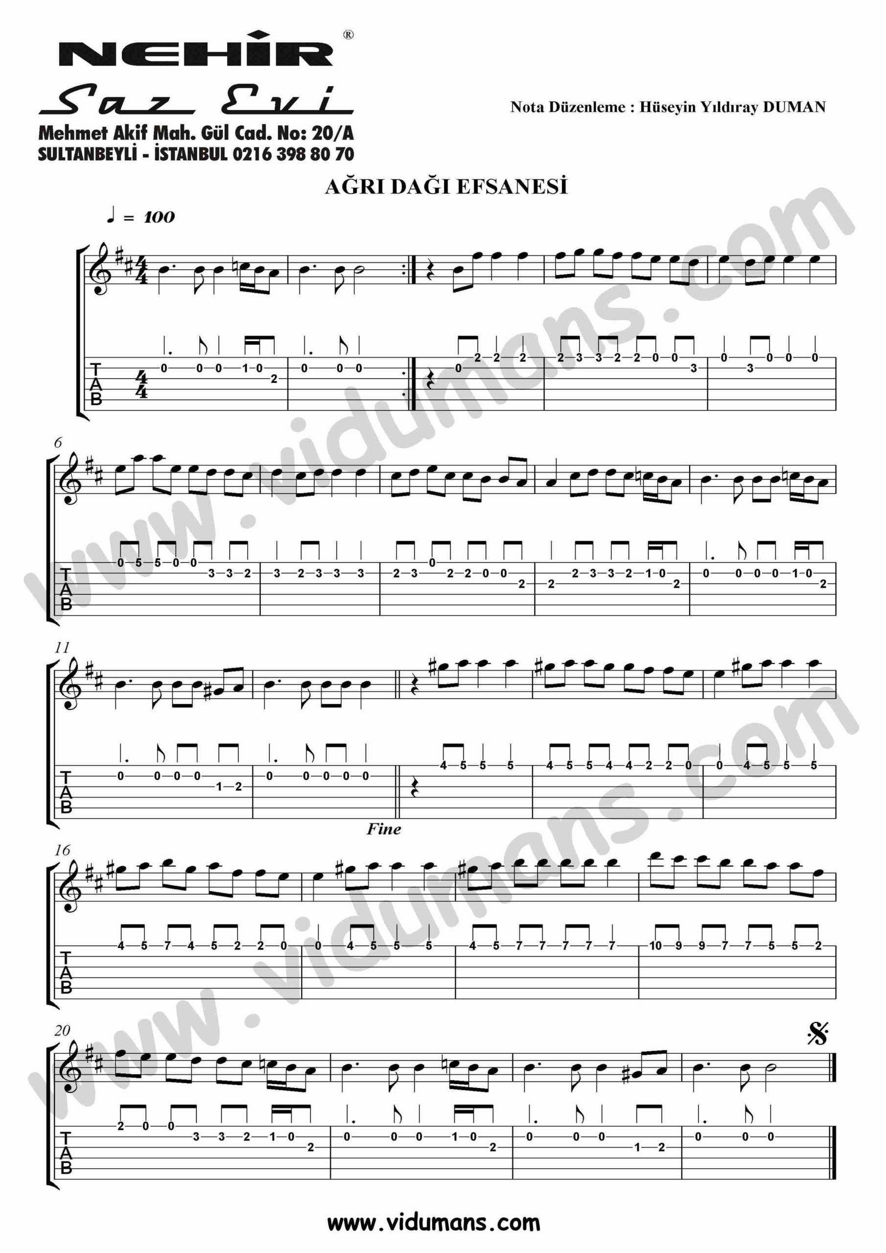 Agri Dagi Efsanesi-Gitar-Solo-Tab-Notalari