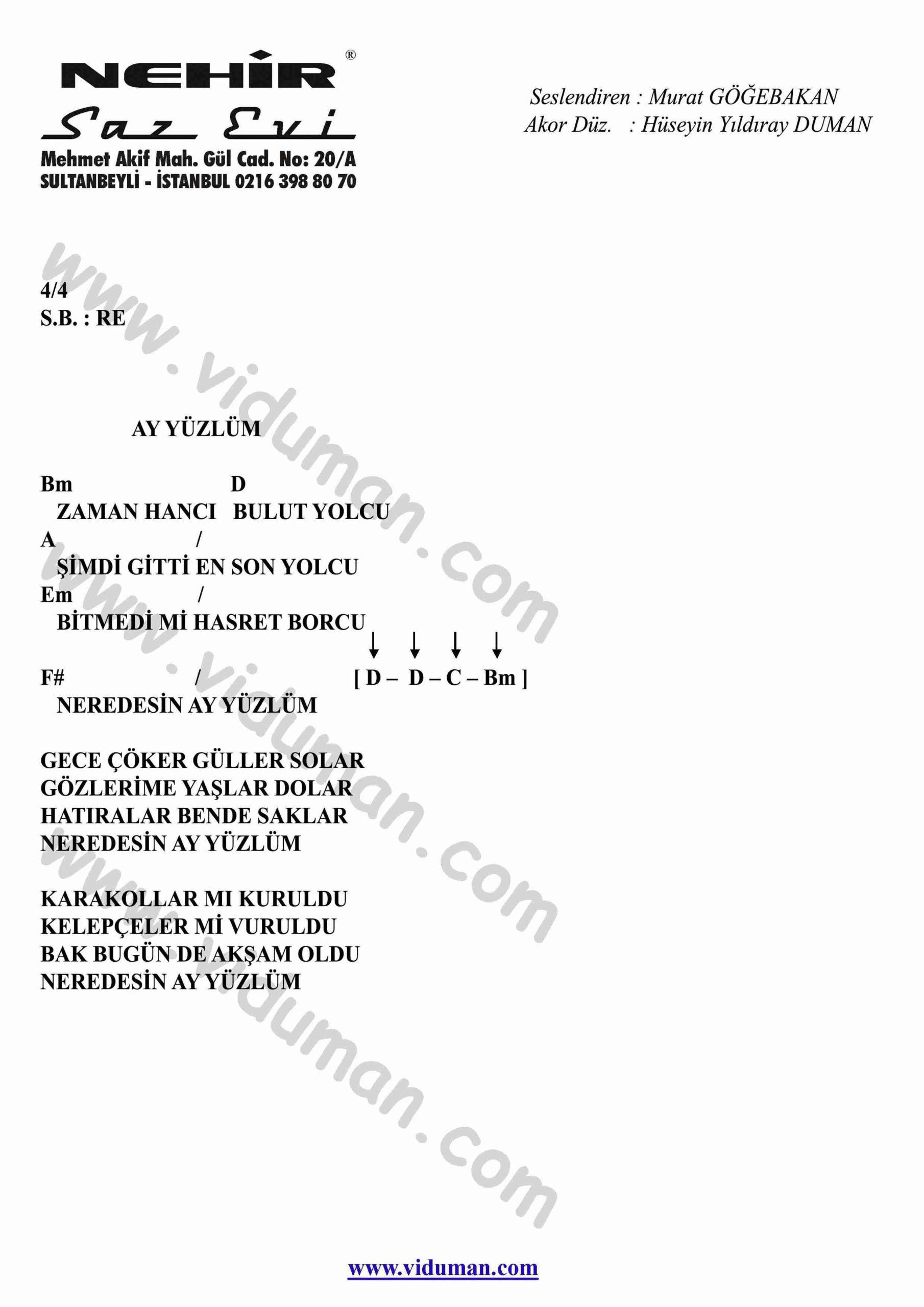 Ay Yuzlum-Gitar-Ritim-Akorlari