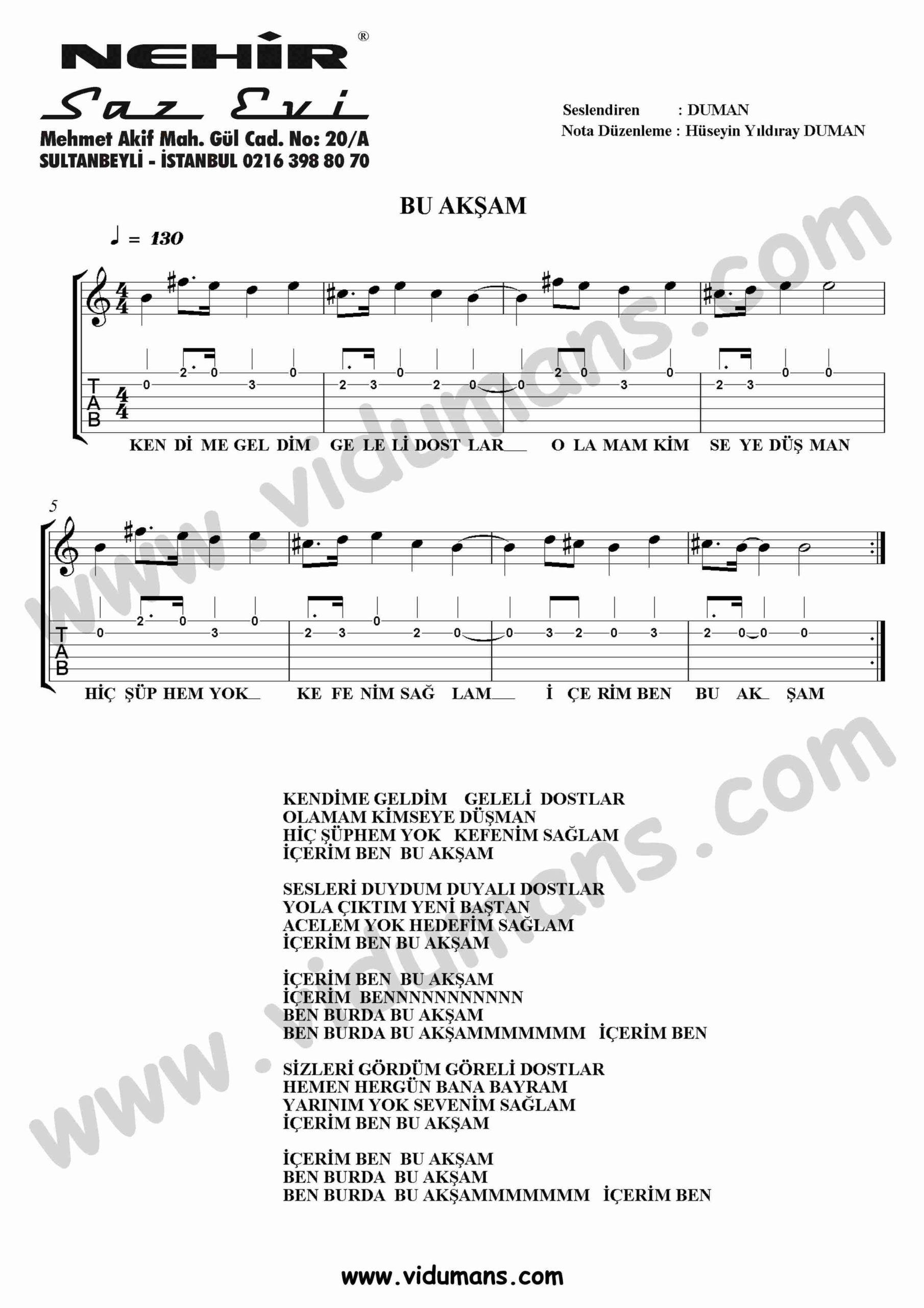 Bu Aksam-Gitar-Tab-Solo-Notalari