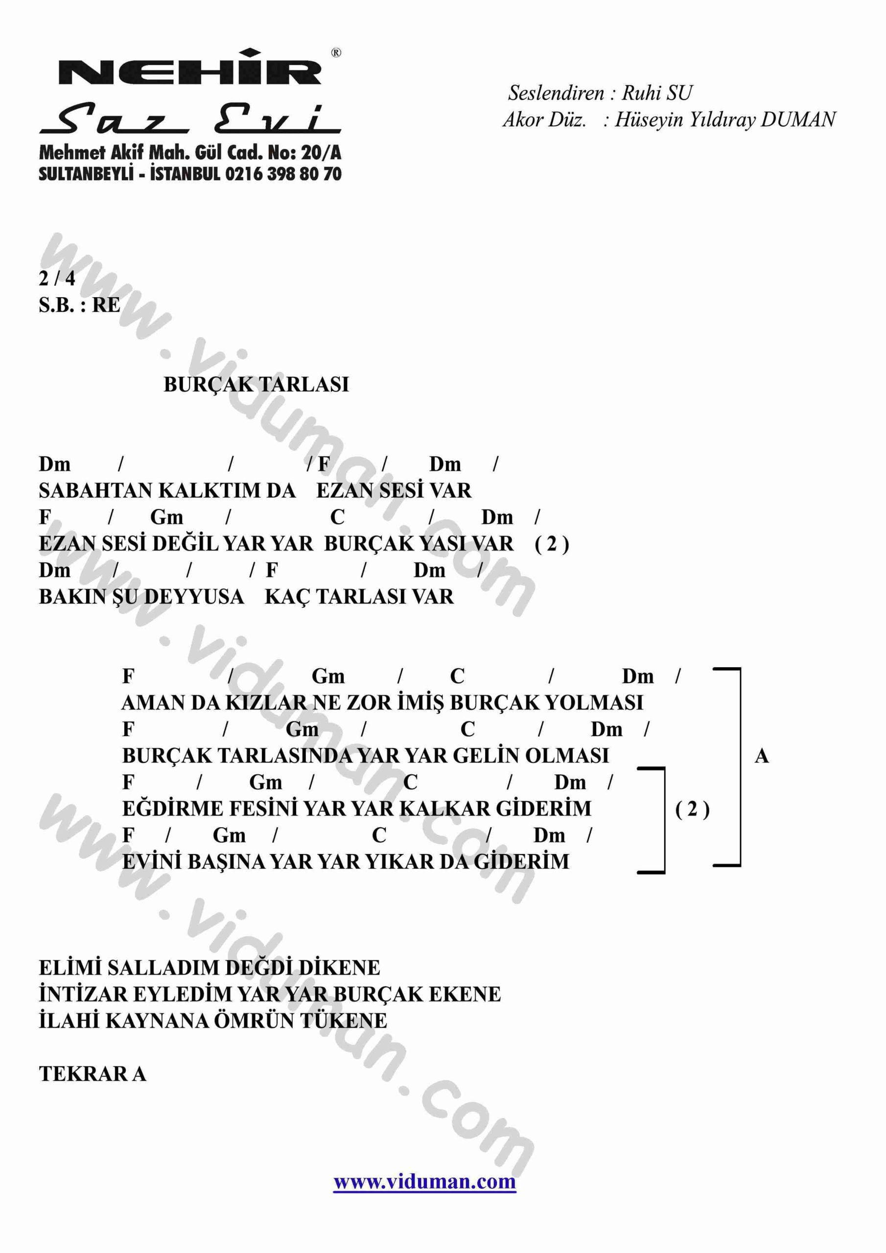 Burcak Tarlasi-Gitar-Ritim-Akorlari