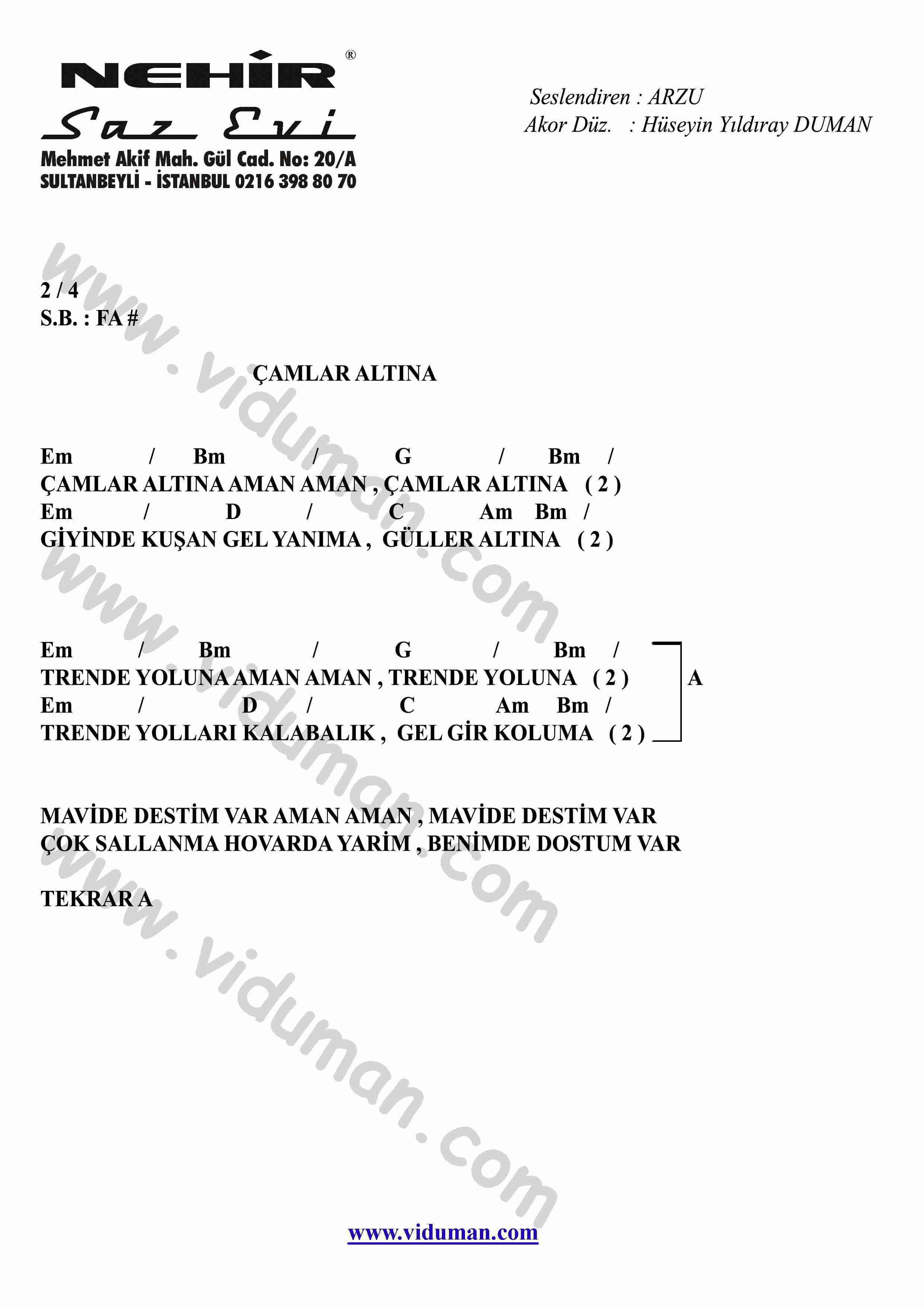 Camlar Altina-Gitar-Ritim-Akorlari