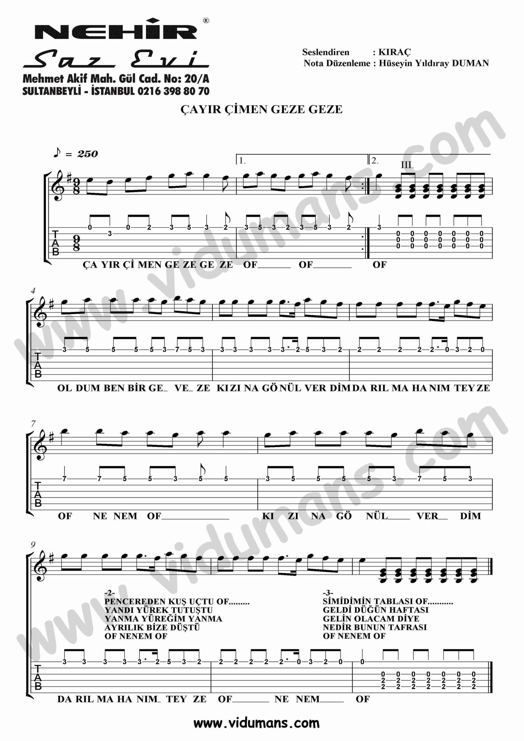 Cayir Cimen Geze Geze-Gitar-Tab-Solo-Notalari