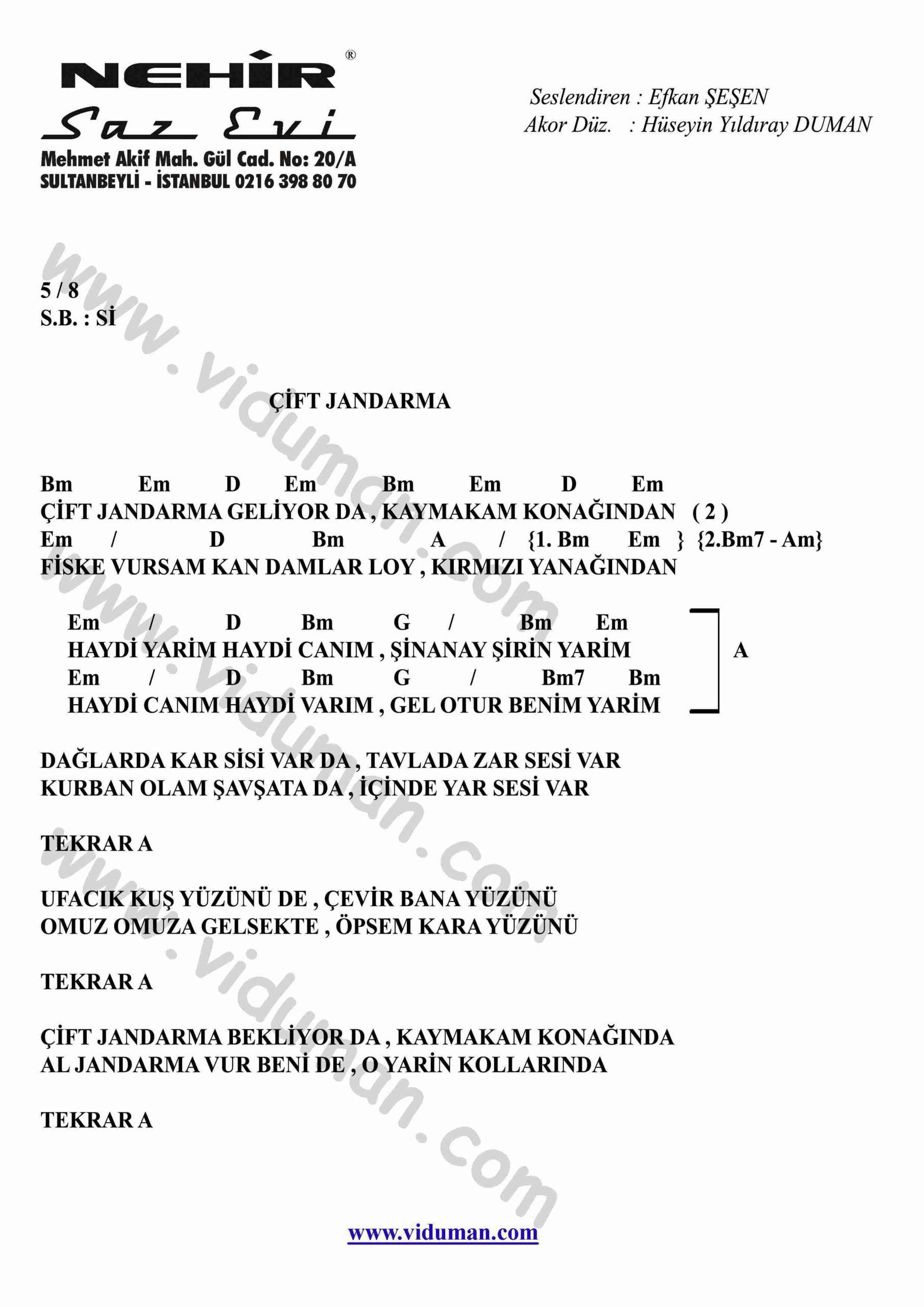 Cift Jandarma-Gitar-Ritim-Akorlari