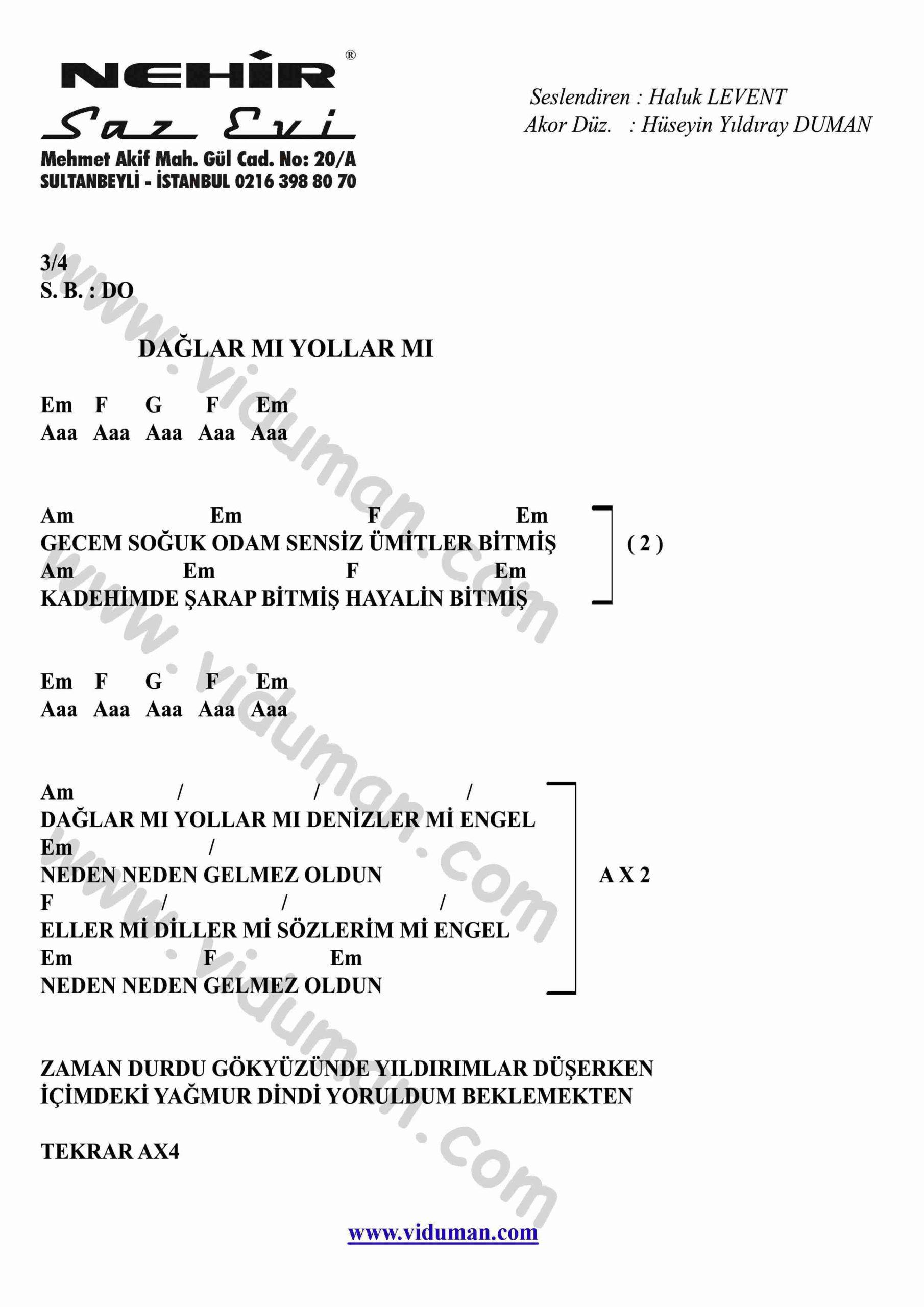 Daglar Mi Yollar Mi-Gitar-Ritim-Akorlari