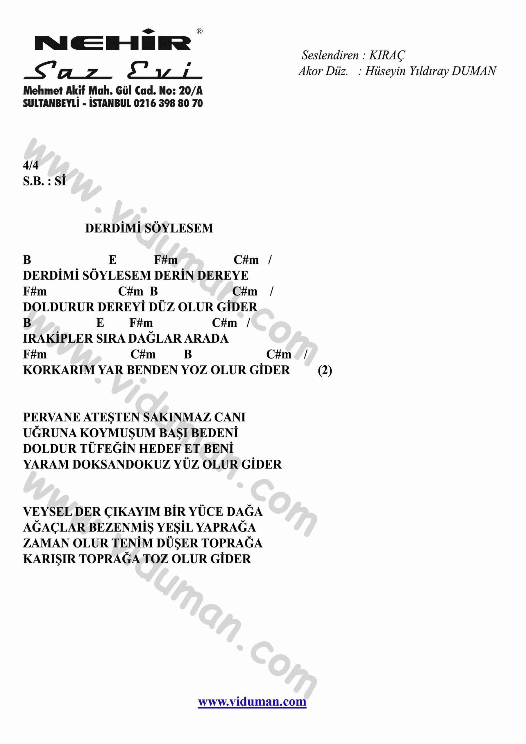 Derdimi Soylesem-Gitar-Ritim-Akorlari