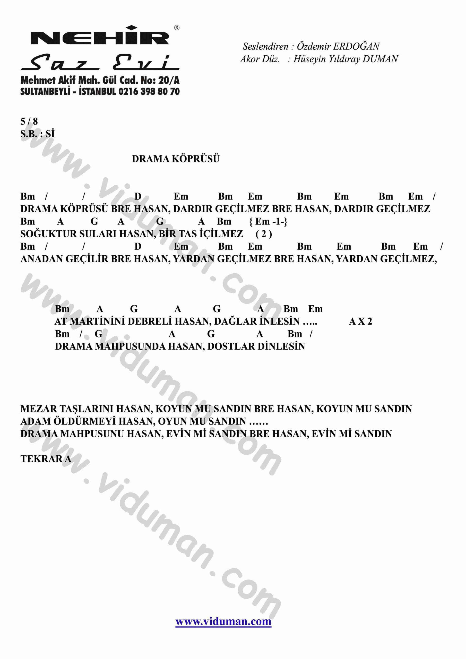 Drama Koprusu-Gitar-Ritim-Akorlari