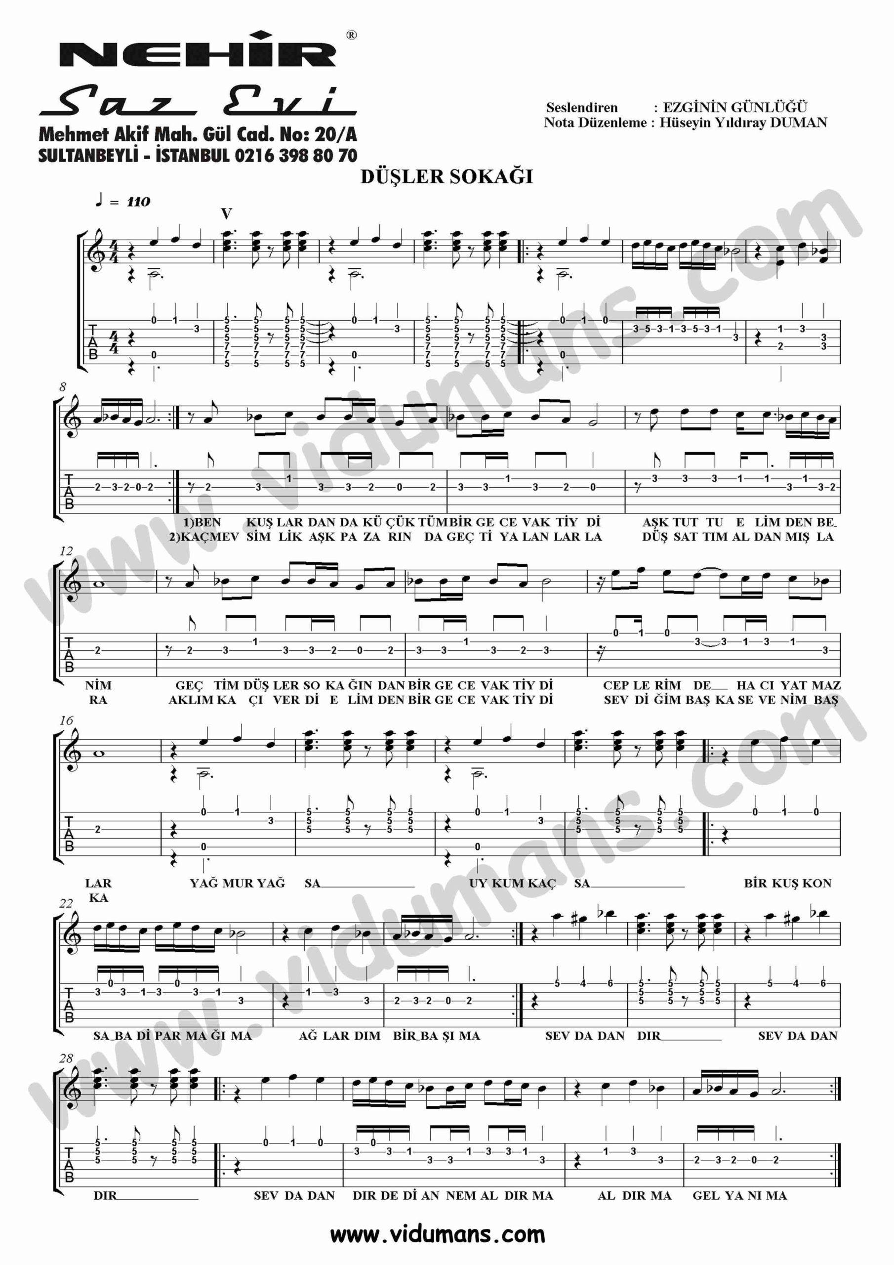Dusler Sokagi-Gitar-Tab-Solo-Notalari