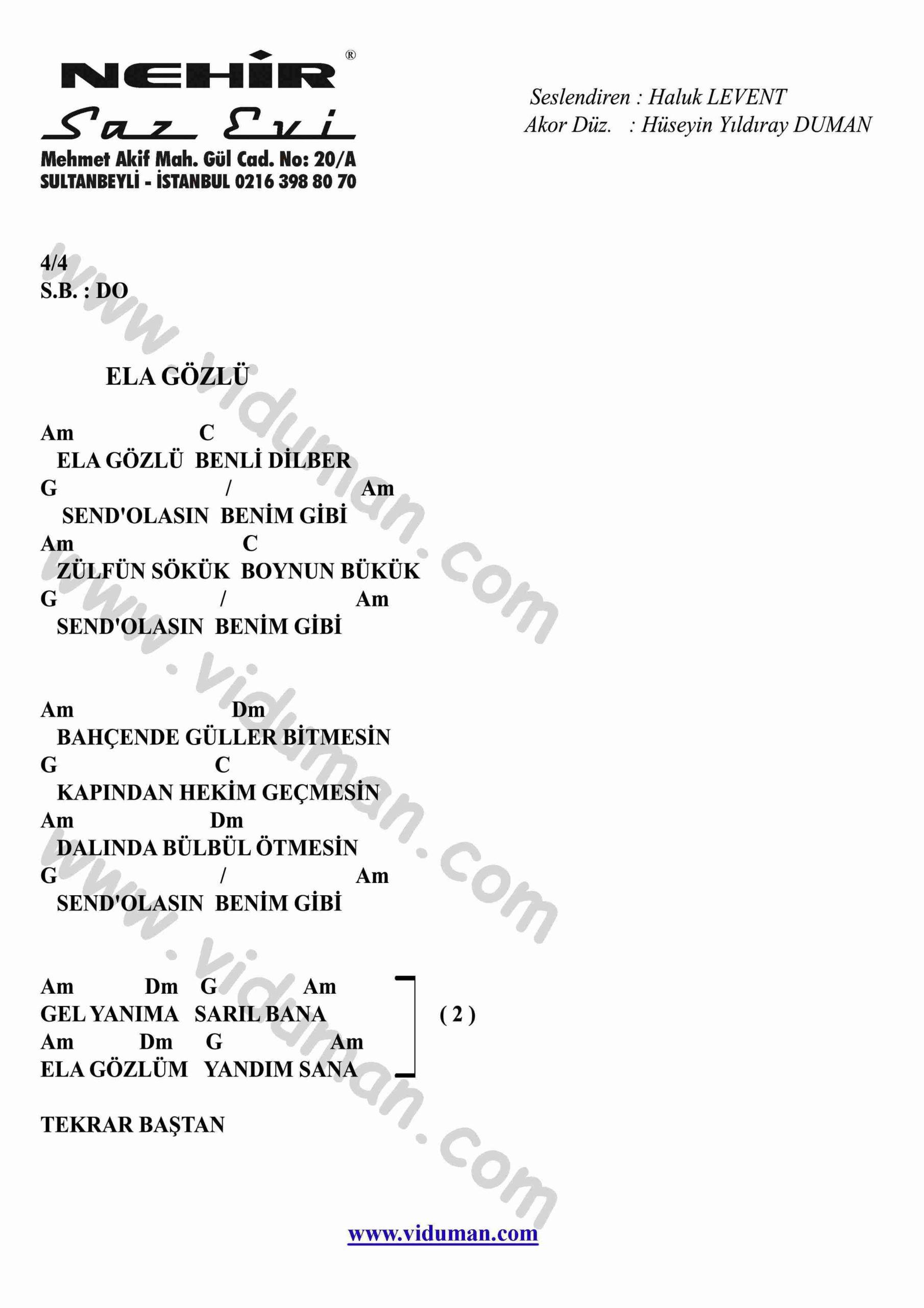 Ela Gozlu-Gitar-Ritim-Akorlari