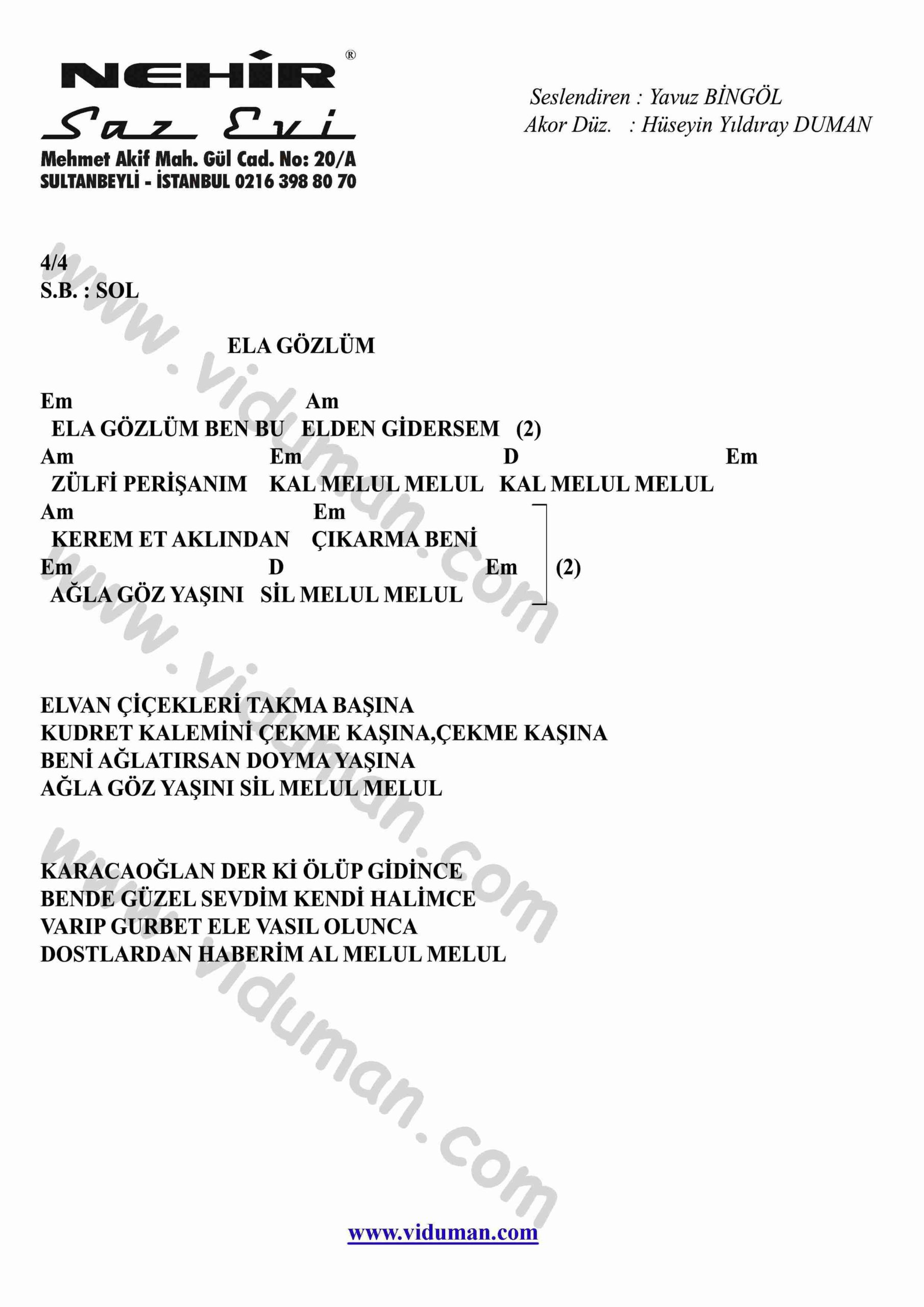 Ela Gozlum-Gitar-Ritim-Akorlari