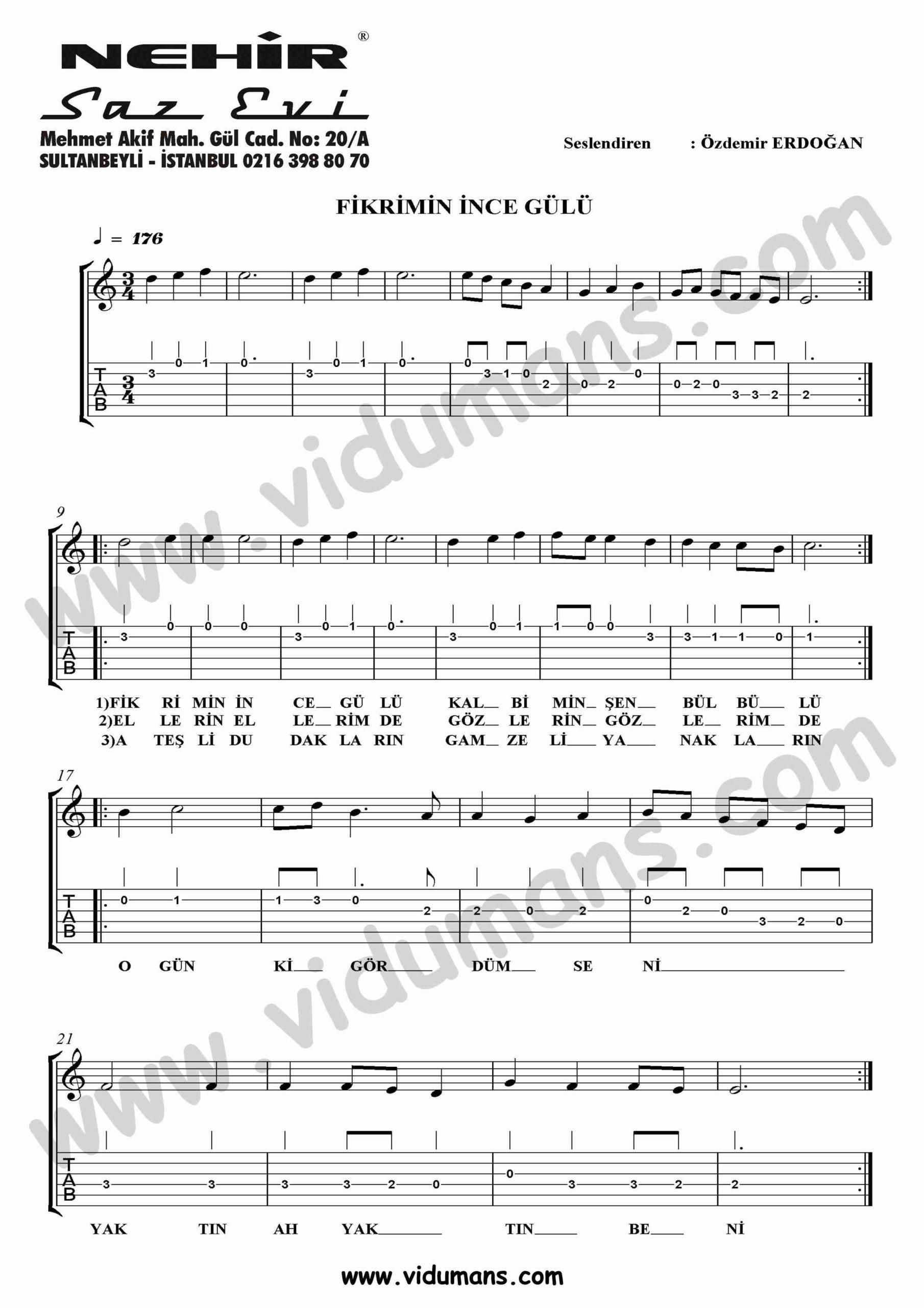 Fikrimin Ince Gulu-Gitar-Tab-Solo-Notalari
