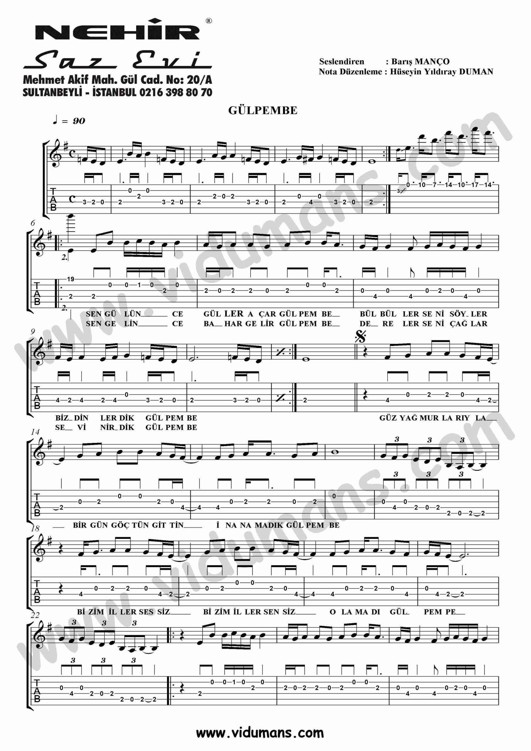 Gulpembe_1-Gitar-Tab-Solo-Notalari