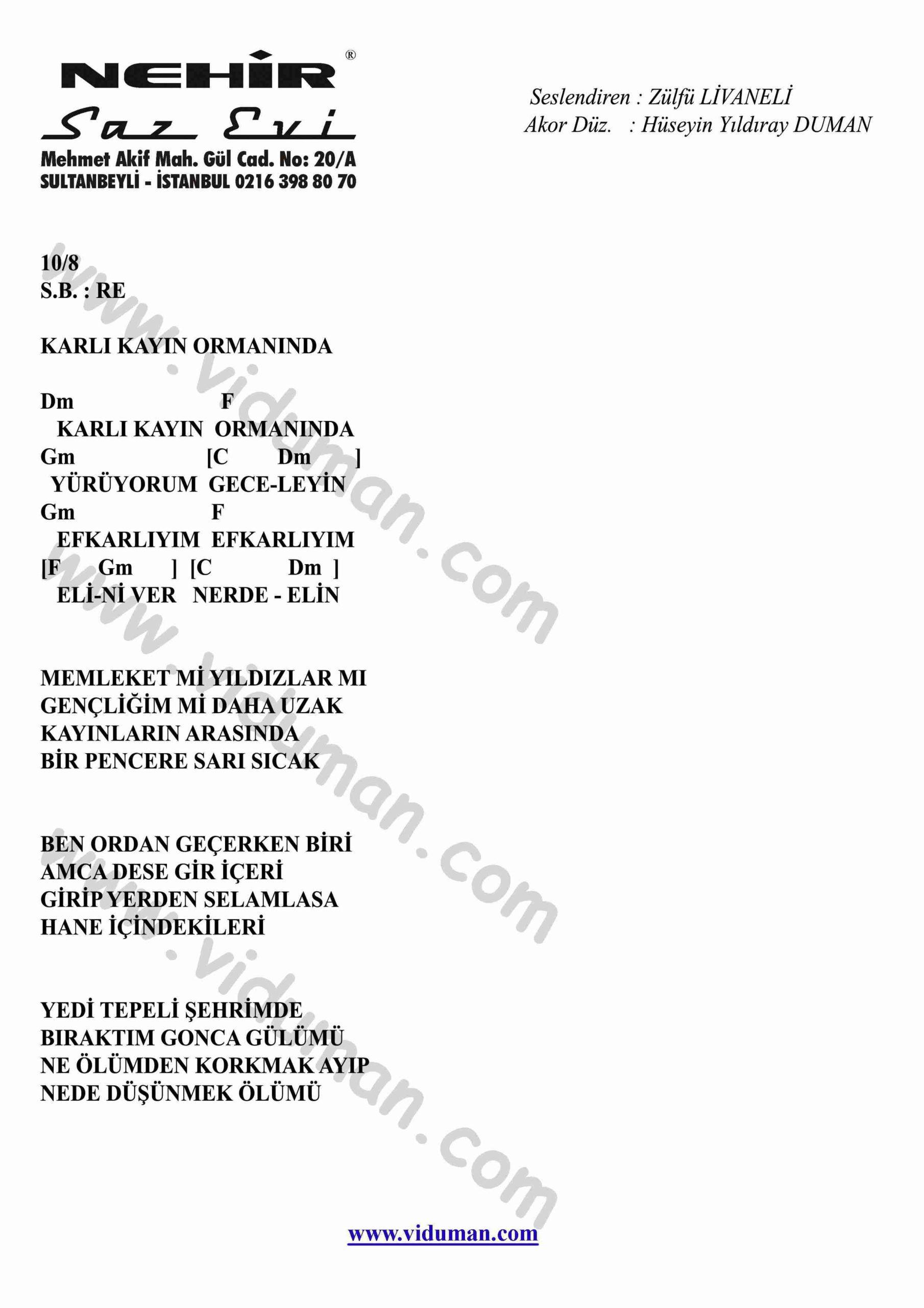 Karli Kayin Ormaninda-Gitar-Ritim-Akorlari
