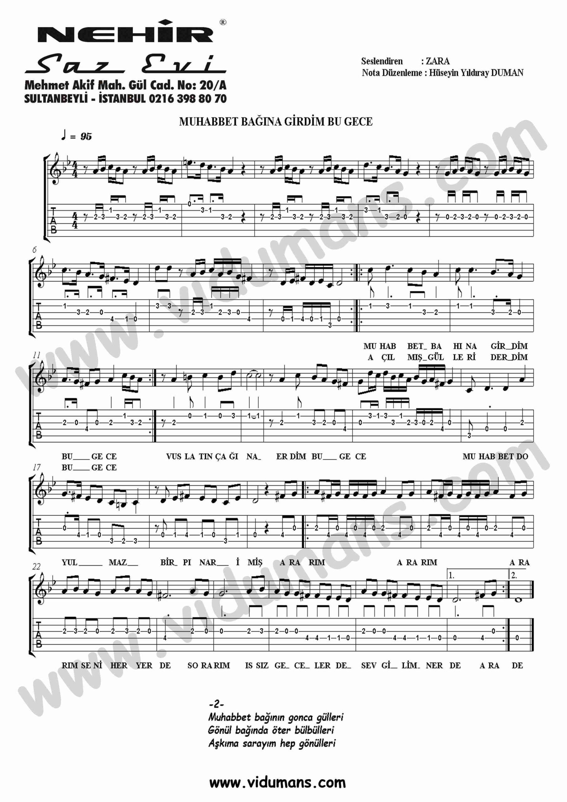 Muhabbet Bagina Girdim-Gitar-Tab-Solo-Notalari