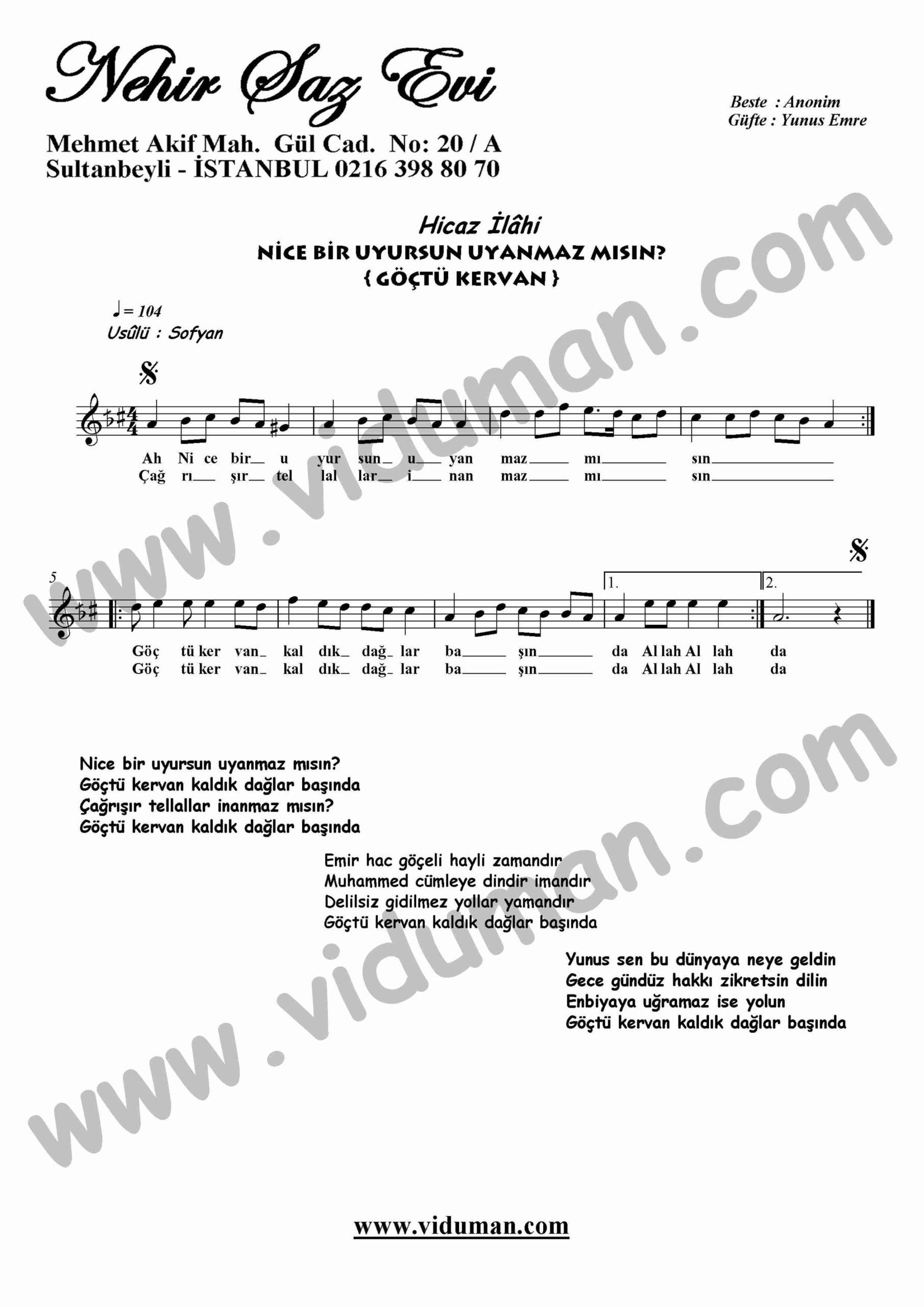 Nice Bir Uyursun (Goctu Kervan)-Ney-Ilahi-Notalari