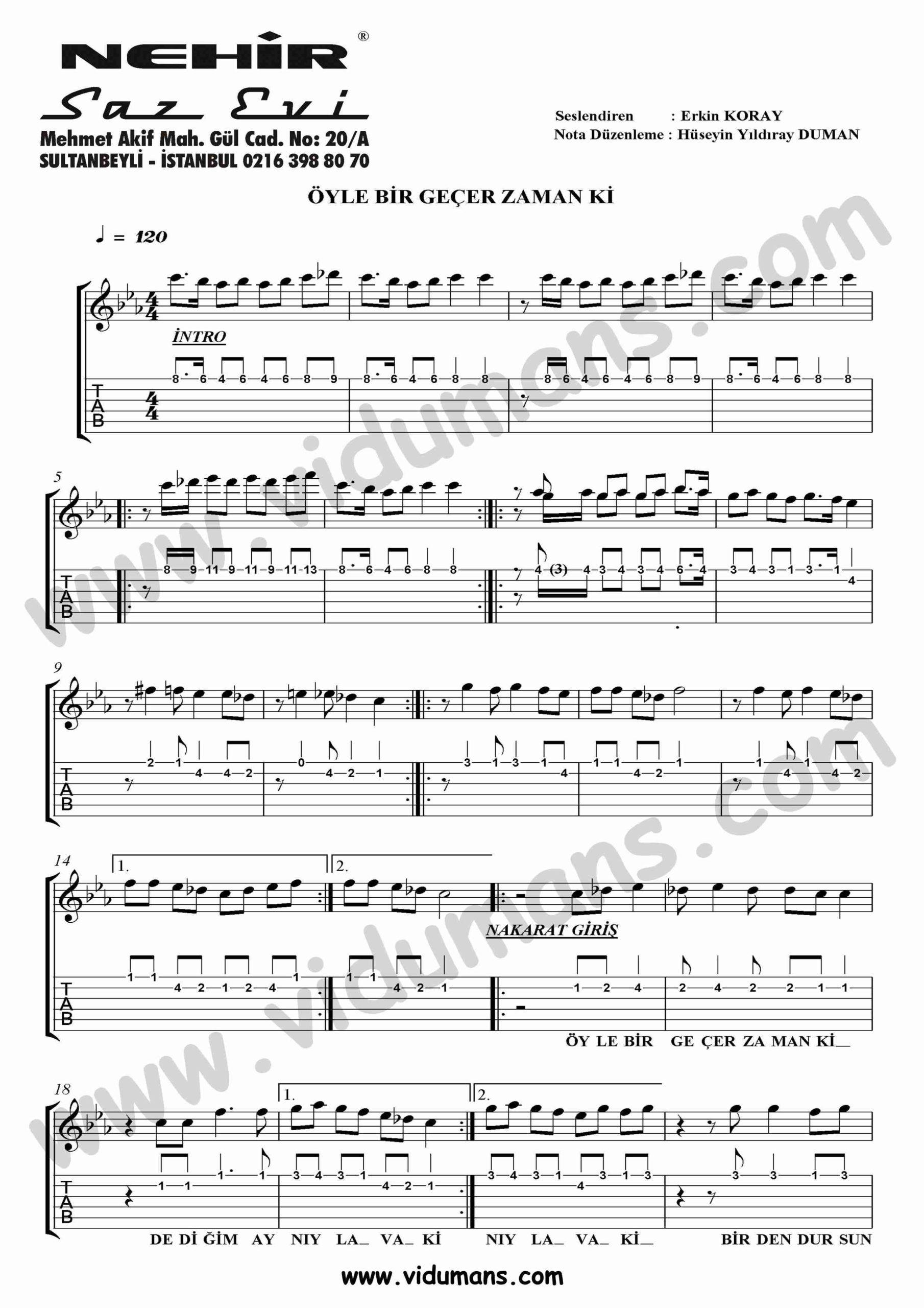 Oyle Bir Gecer Zaman Ki_1-Gitar-Tab-Solo-Notalari
