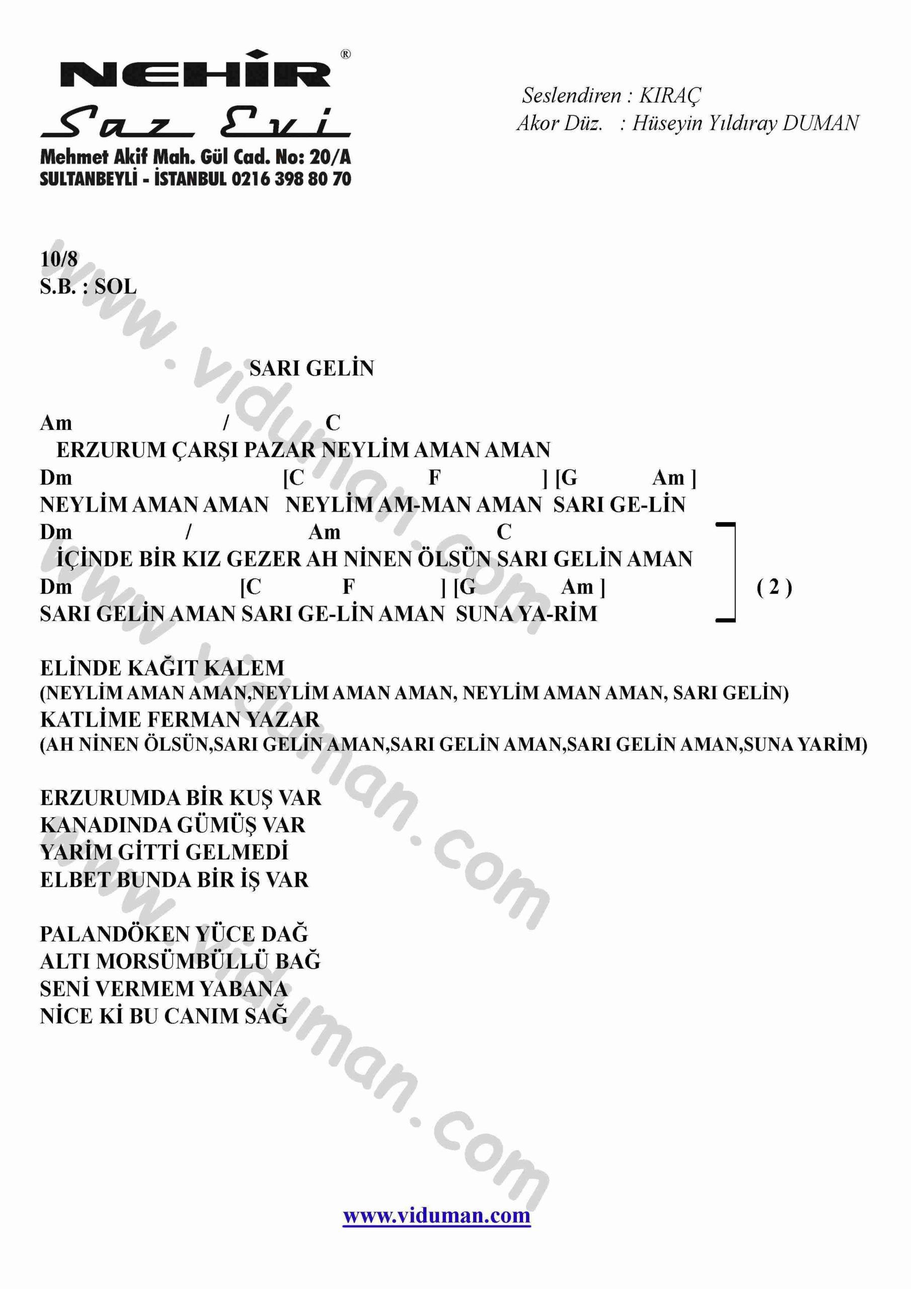 Sari Gelin-Gitar-Ritim-Akorlari