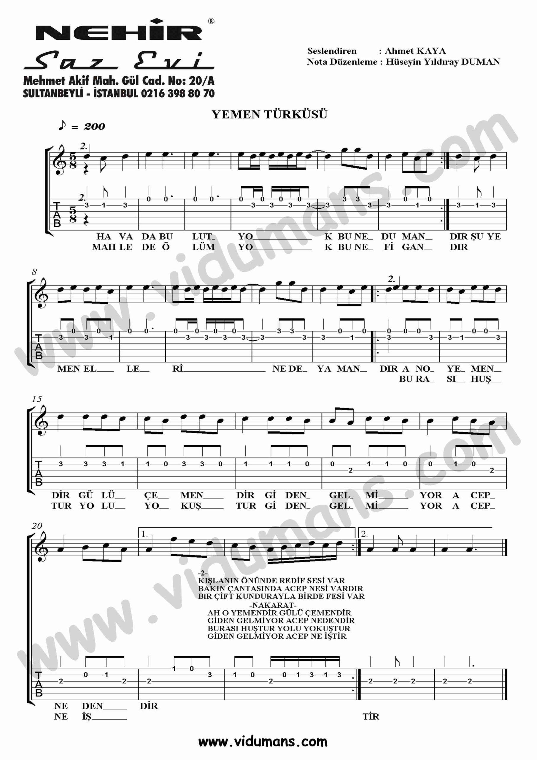 Yemen Turkusu-Gitar-Tab-Solo-Notalari