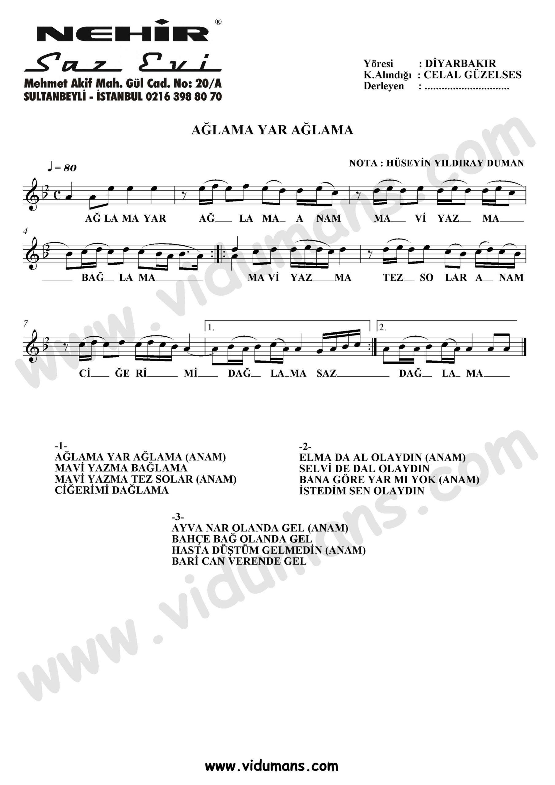 Aglama Yar Aglama-Baglama-Saz-Notalari