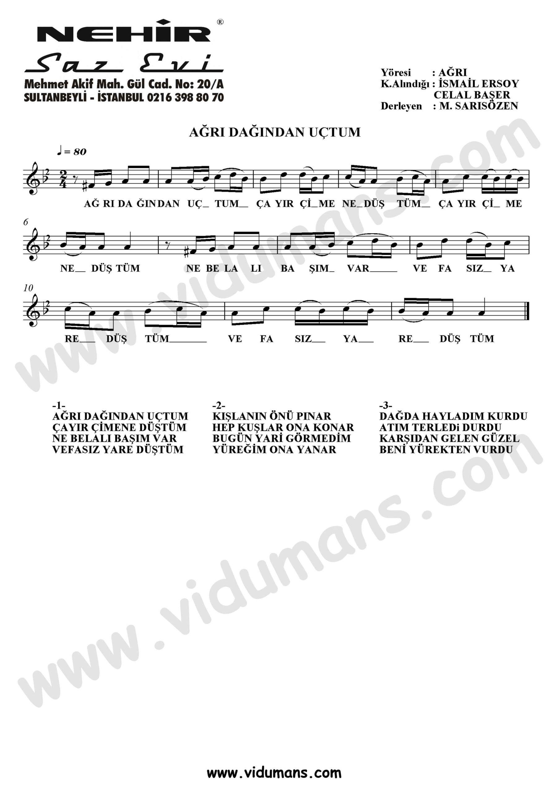 Agri Dagindan Uctum-Baglama-Saz-Notalari