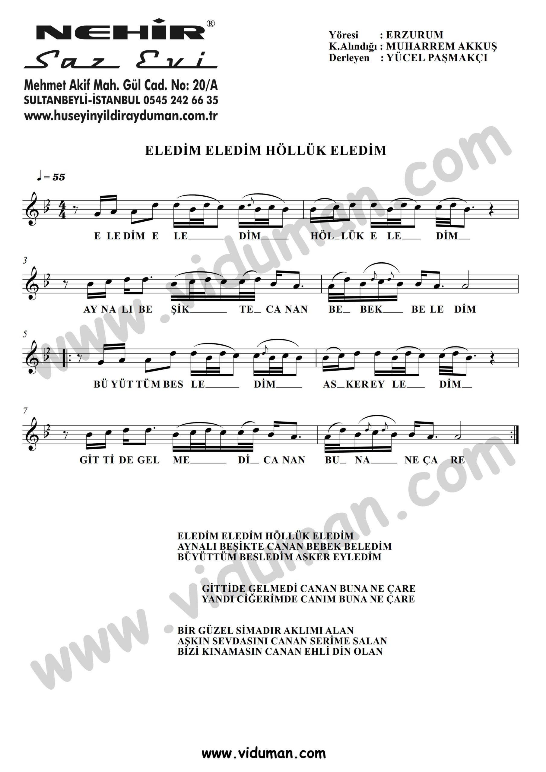 Eledim Eledim Holluk Eledim-Baglama-Saz-Notalari