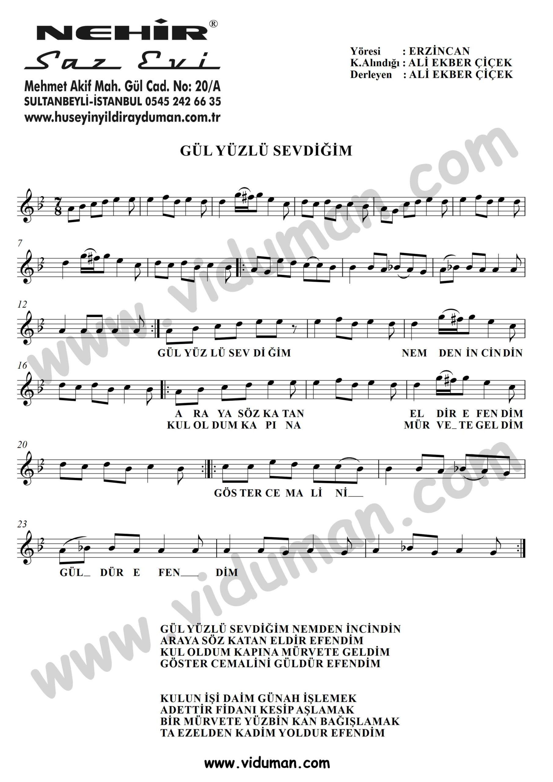 Gul Yuzlu Sevdigim-Baglama-Saz-Notalari