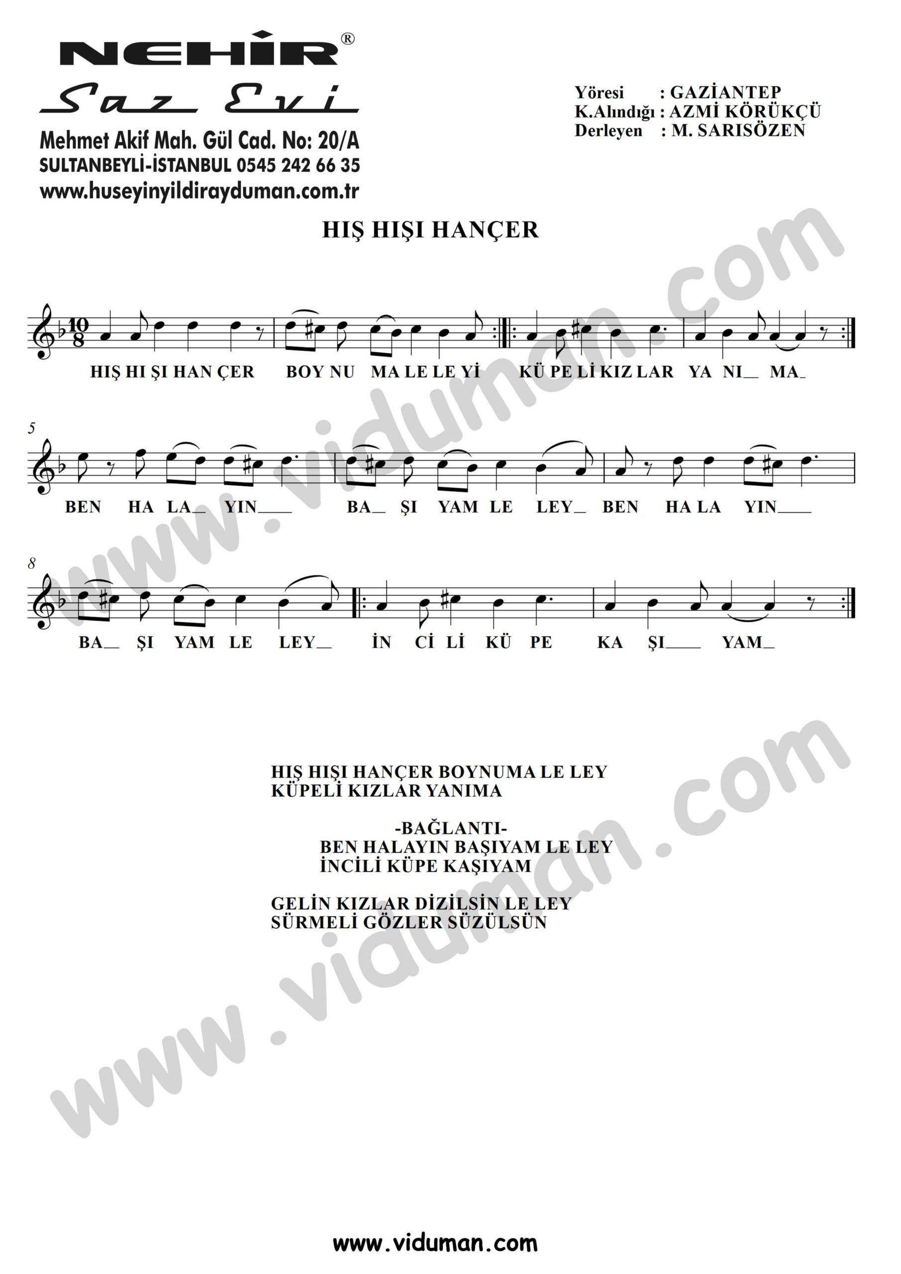His Hisi Hancer-Baglama-Saz-Turku-Notalari
