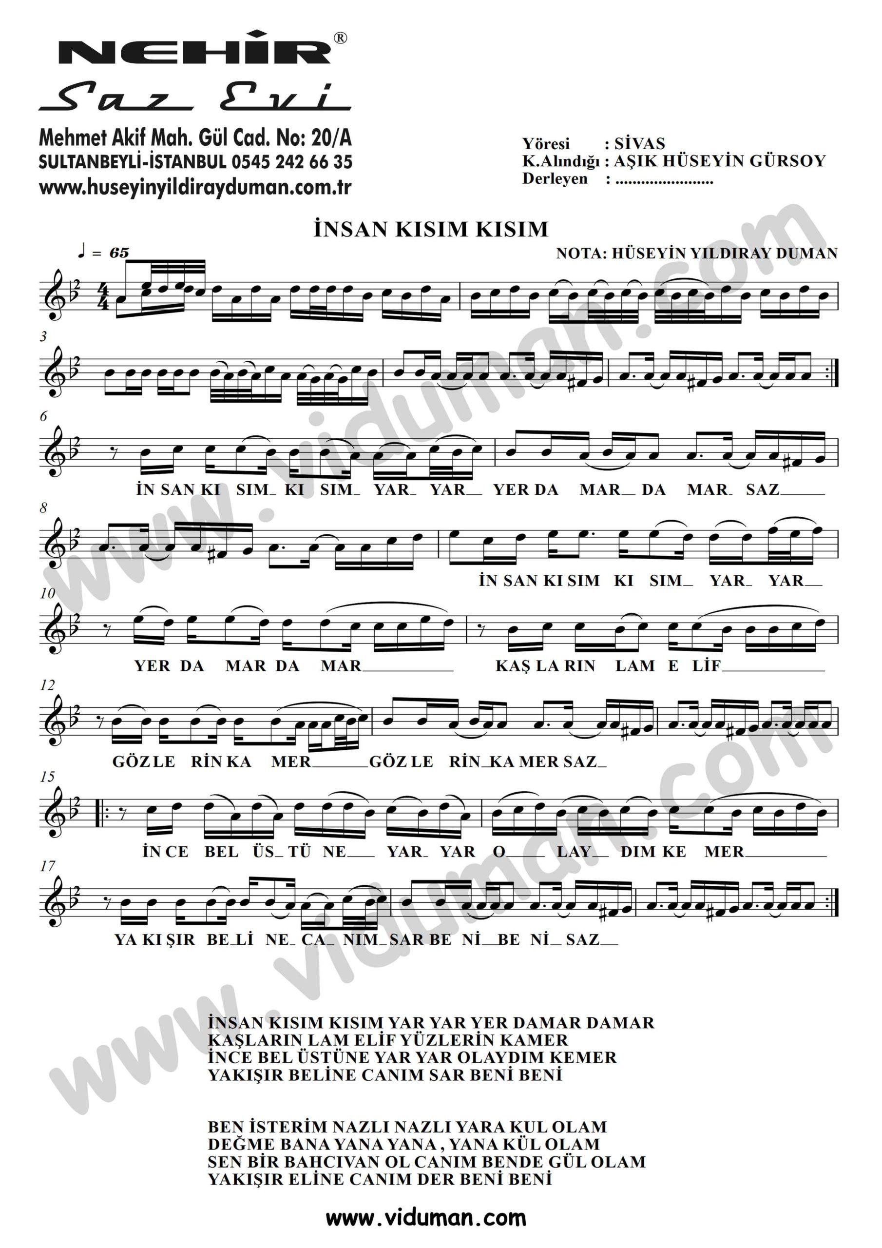 Insan Kisim Kisim-Baglama-Saz-Turku-Notalari