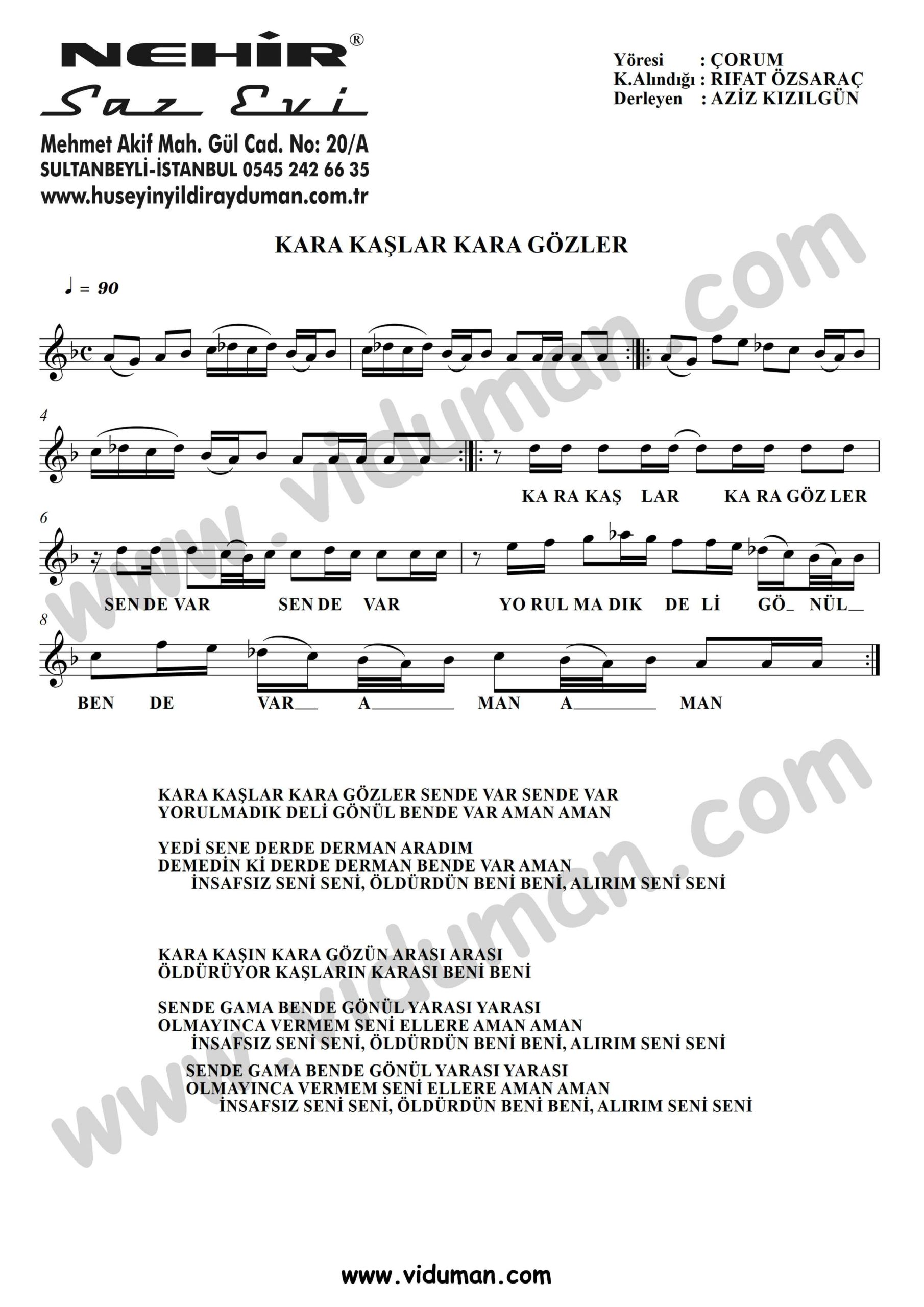 Kara Kaslar Kara Gozler-Baglama-Saz-Notalari
