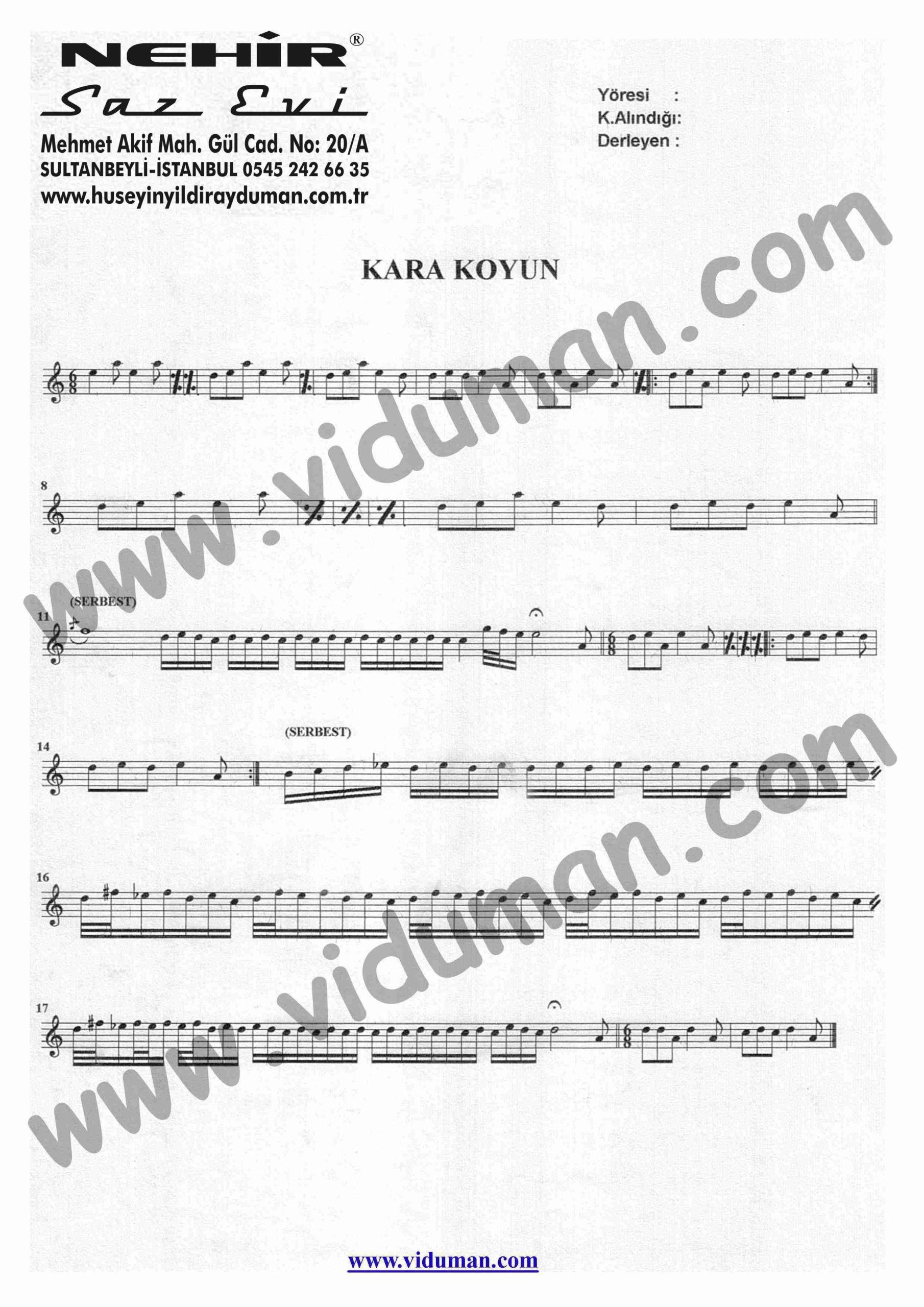 Kara Koyun-Baglama-Kaval-Notalari