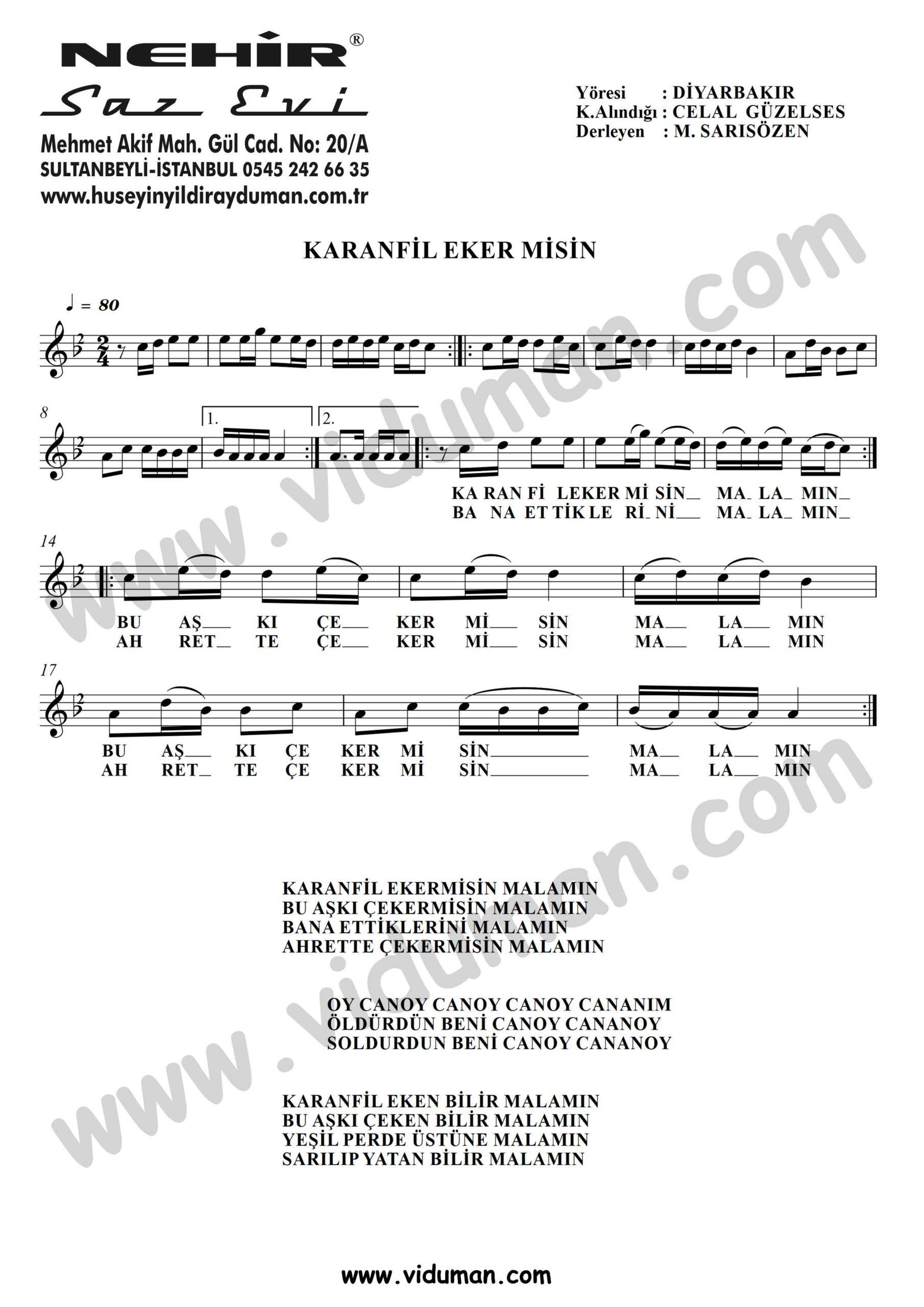 Karanfil Ekermisin-Baglama-Saz-Turku Notalari